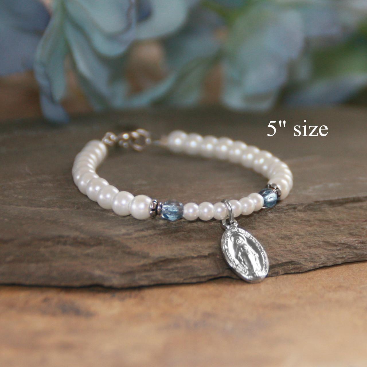 """CJ-196-5  Children's Mary Bracelet 5"""" Glass Pearls"""