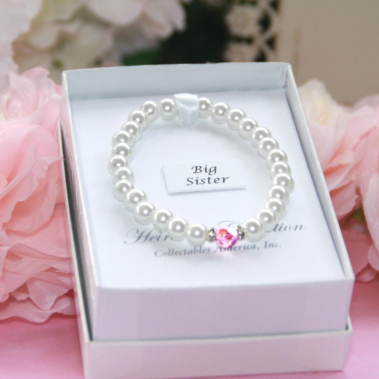 "CJ-187  Big Sis Chunky Glass Pearl Bracelet 6"""