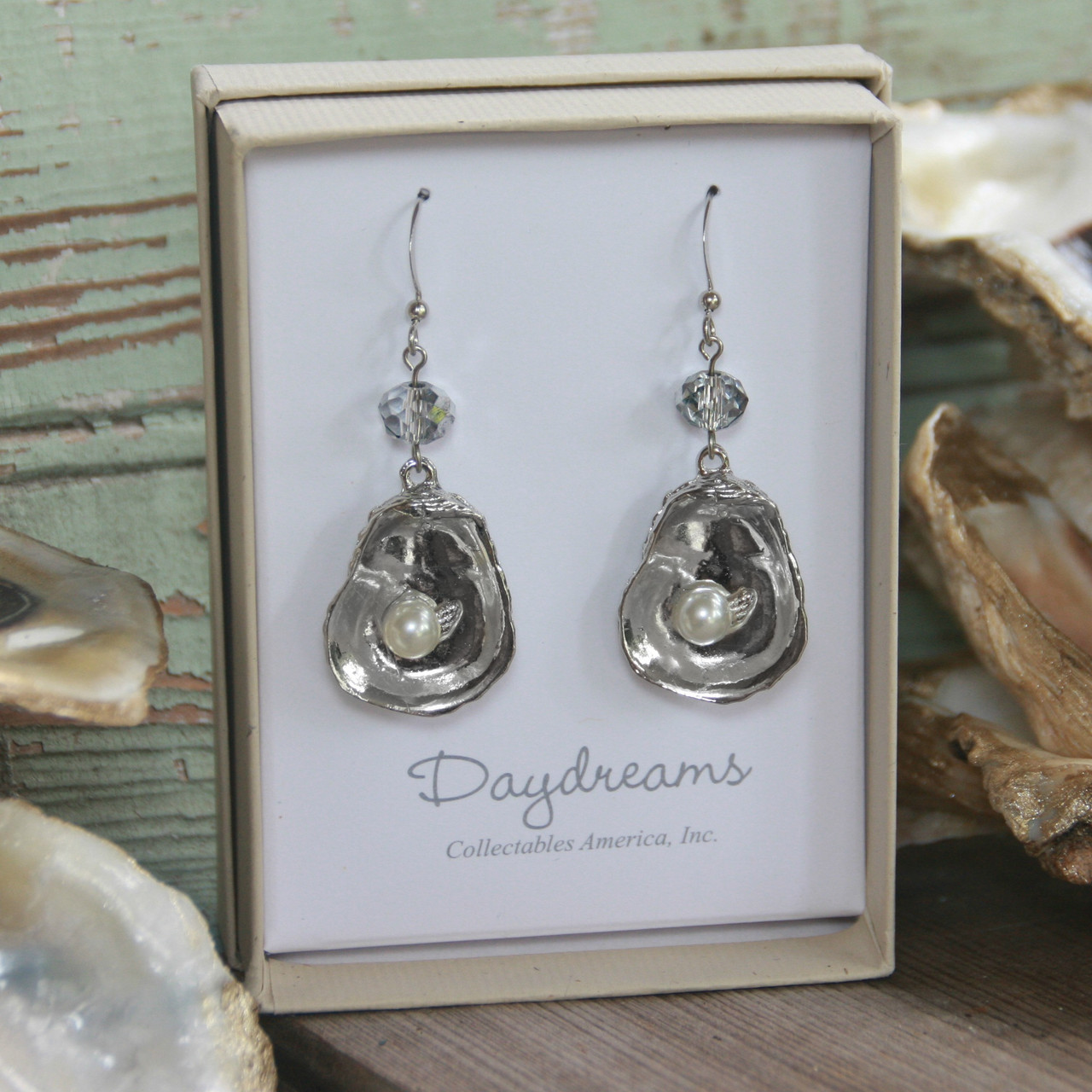 DD-34  Oyster Earrings with Crystal