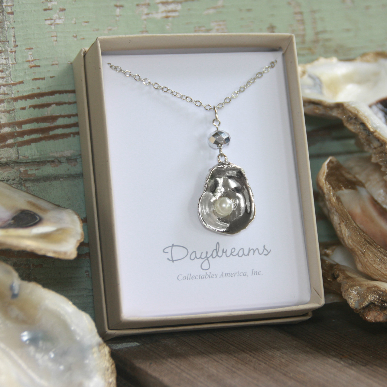 DD-33  Oyster Necklace with Crystal Drop