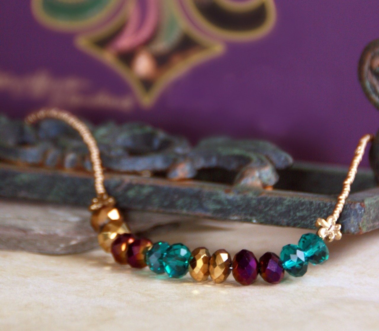 NCK-46 Mardi Gras colors Necklace