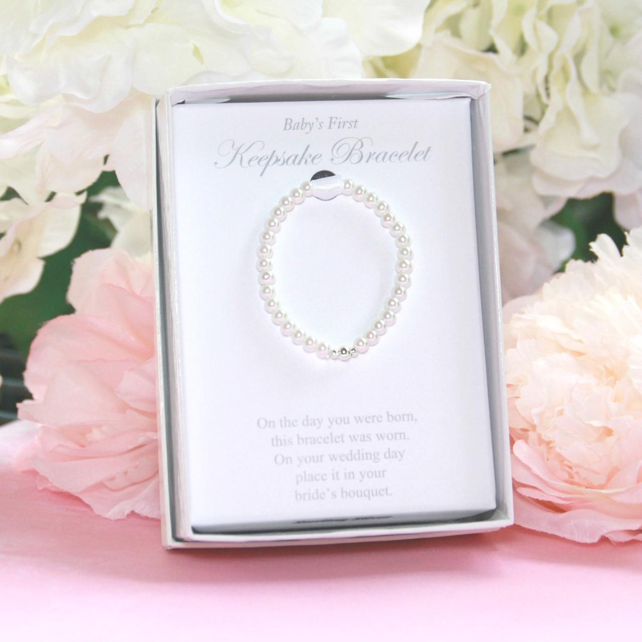 STG-166  Sterling Beads Glass Pearls Infant Keepsake Bracelet