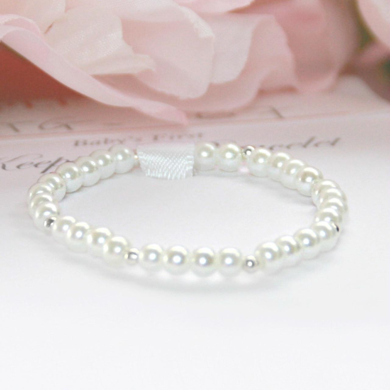 STG-167  Pearls and Sterling Infant Bracelet