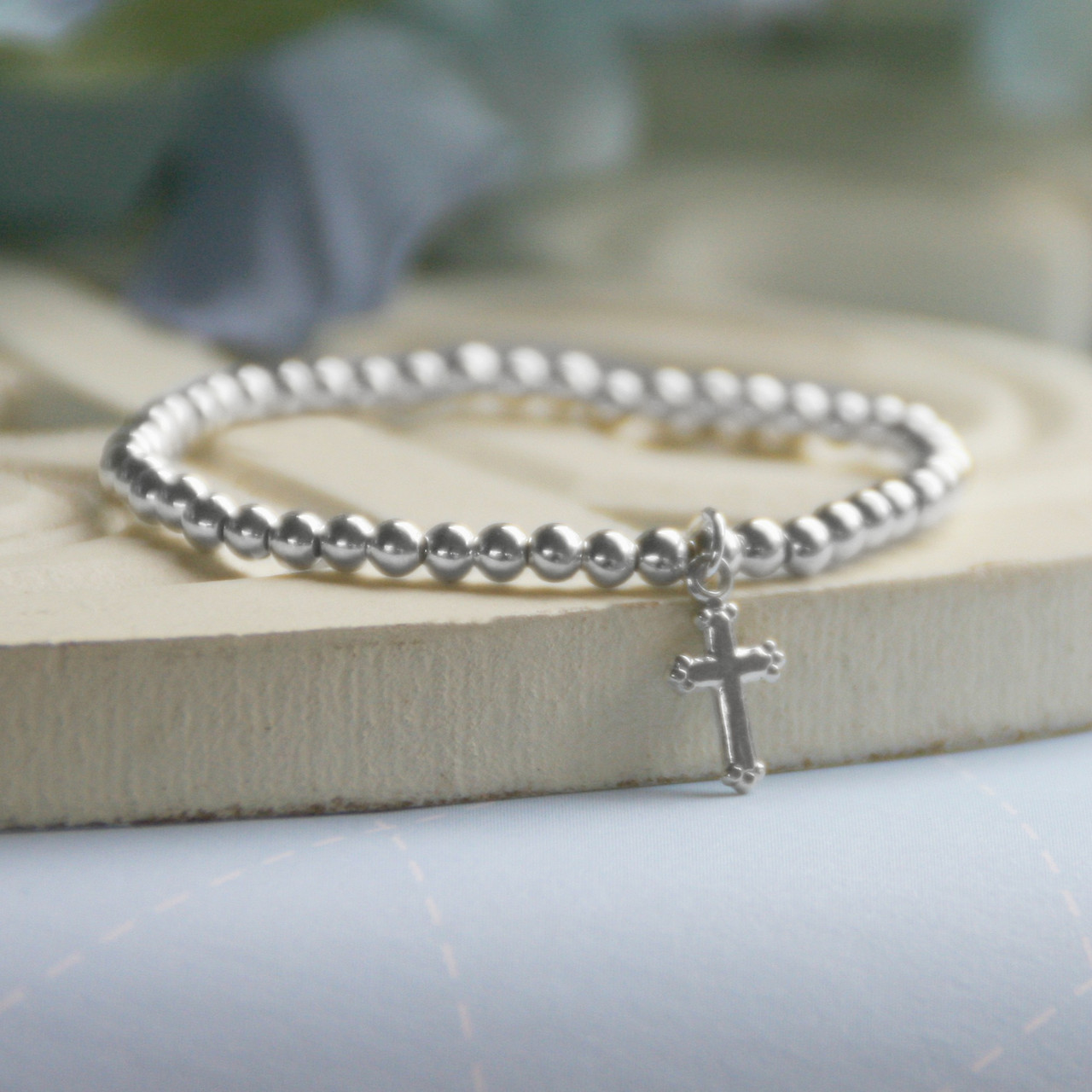 """STG-266R  Sterling Silver Beads 5"""" Stretch Bracelet with Cross"""