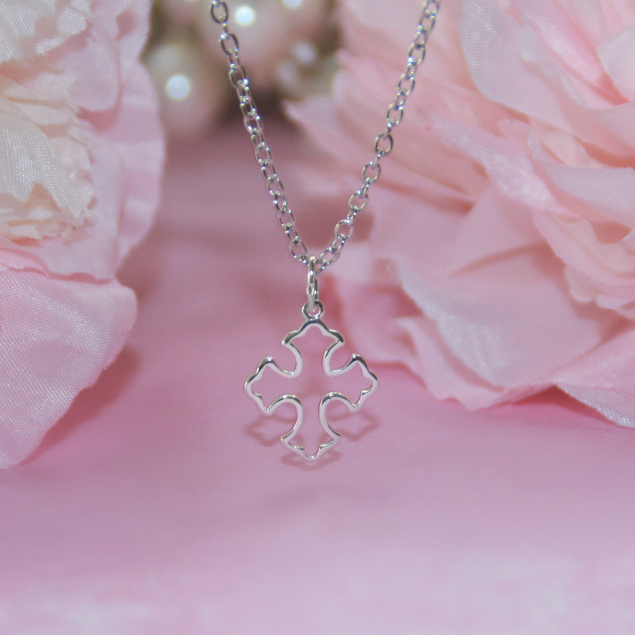 CJ-562  Oh so Sweetness Open Dainty Cross Necklace