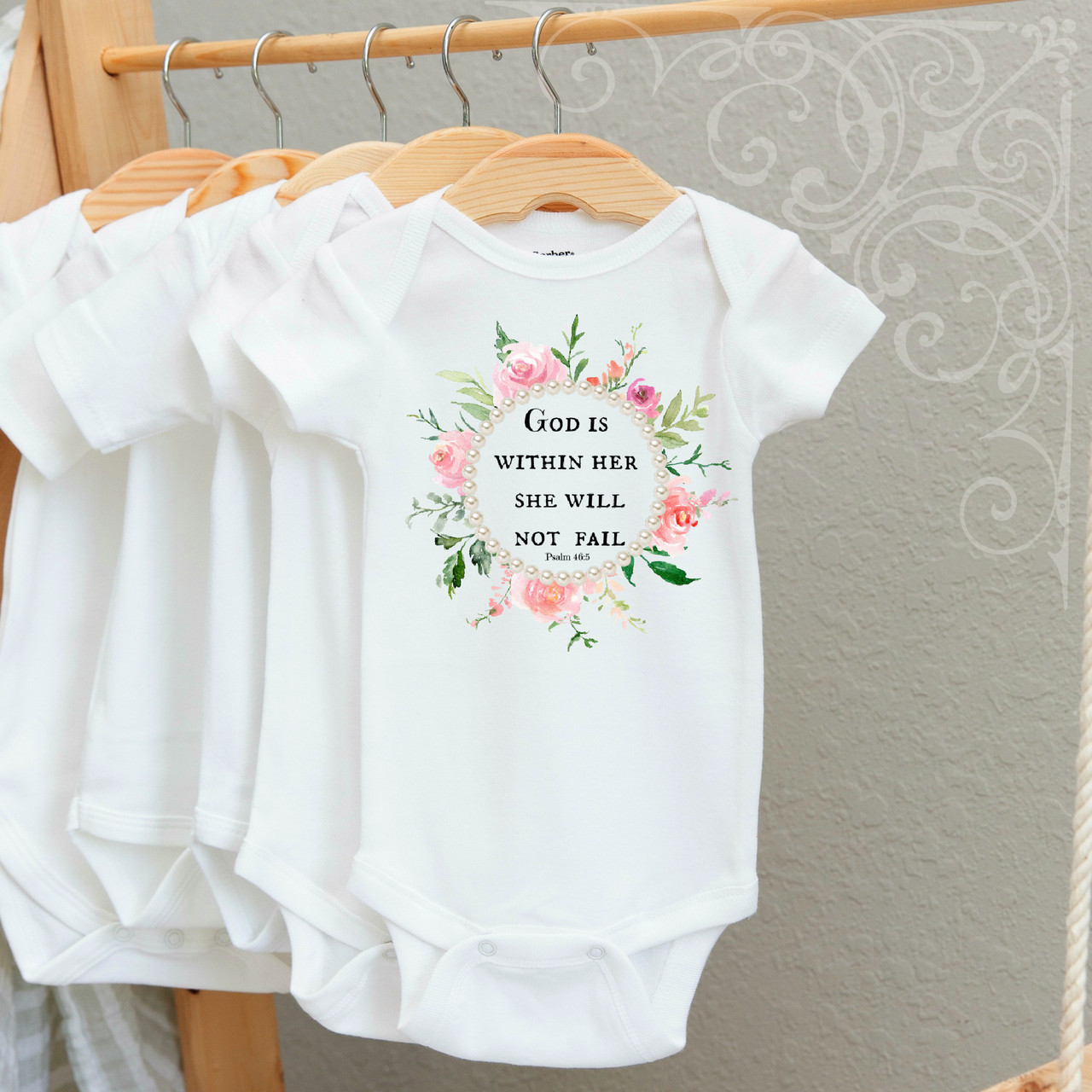 00-30CR God is Within Her Onesie  6-12 Months (with crystals)