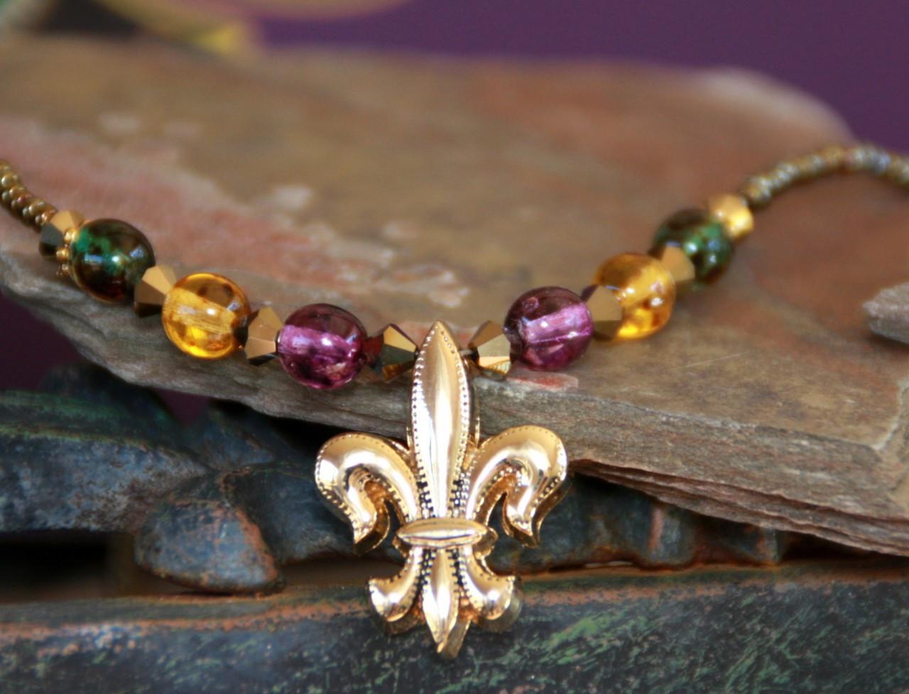 NCK-89 Mardi Gras Beaded Necklace