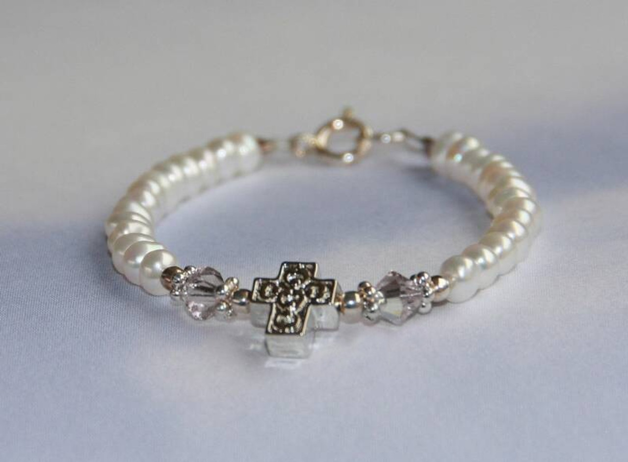 STG-151-5 Baby Freshwater Pearls Crystals AB and Cross Bracelet 5""