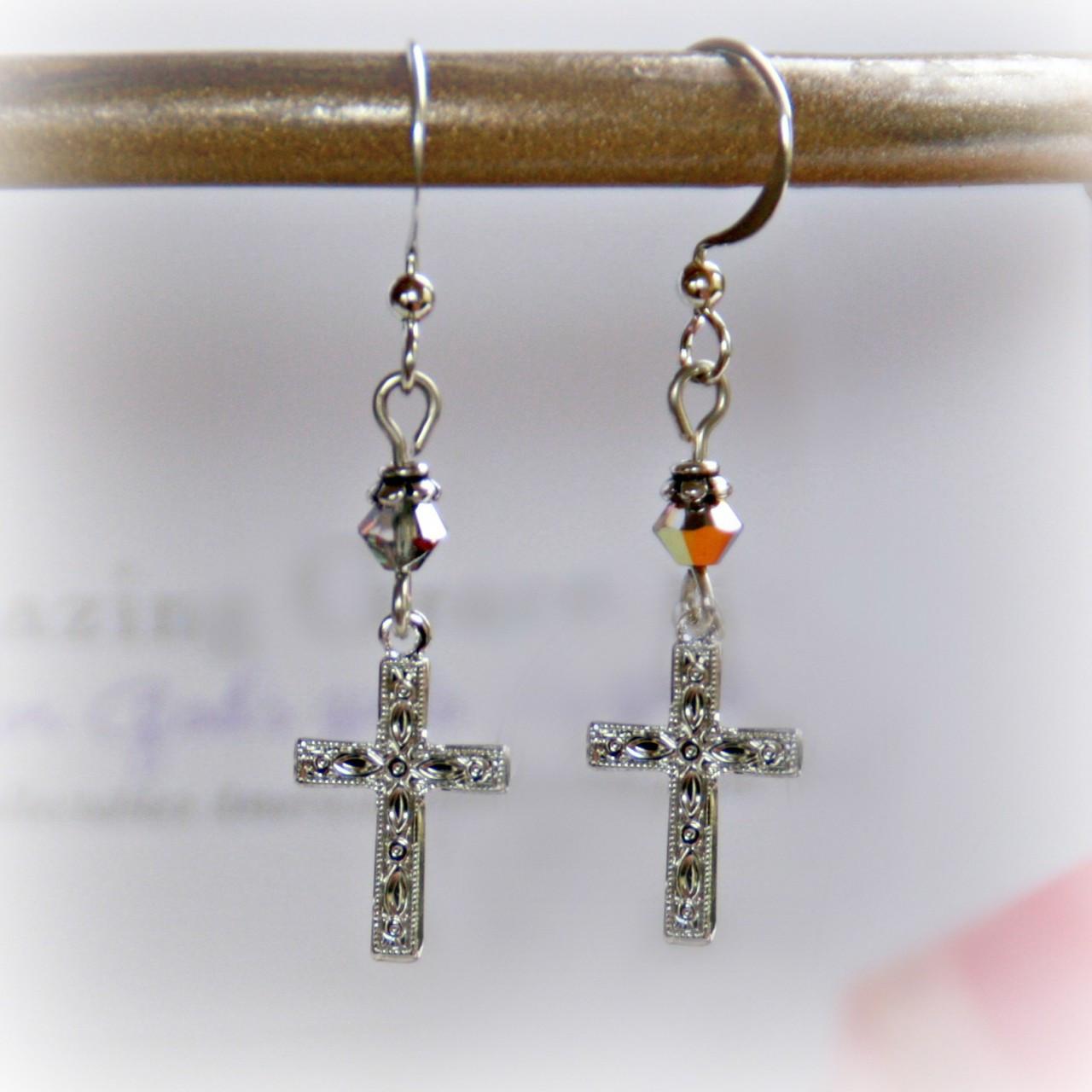 GG-18  Amazing Grace Engraved Cross Earrings
