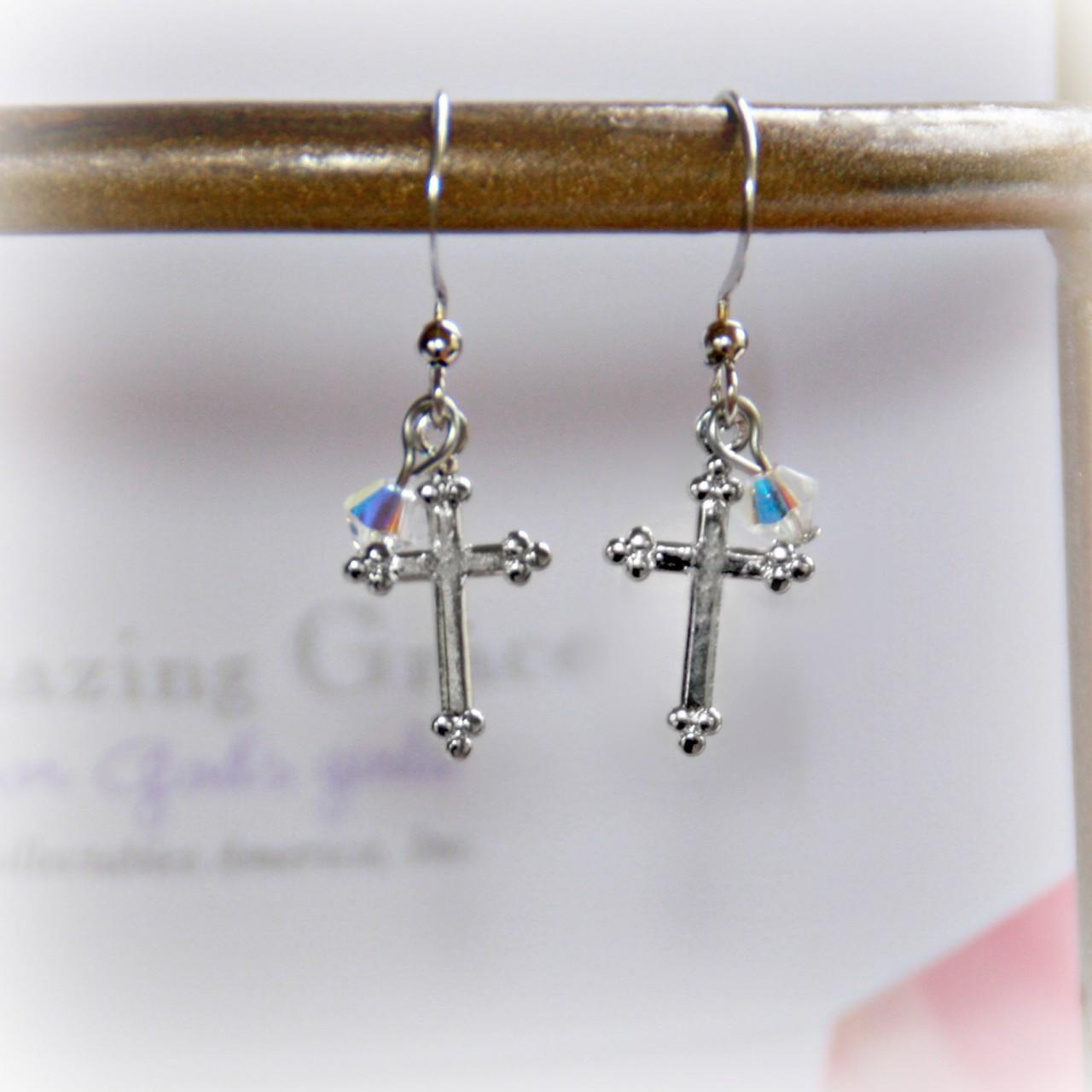 GG-20  Amazing Grace Cross Crystal AB Earrings