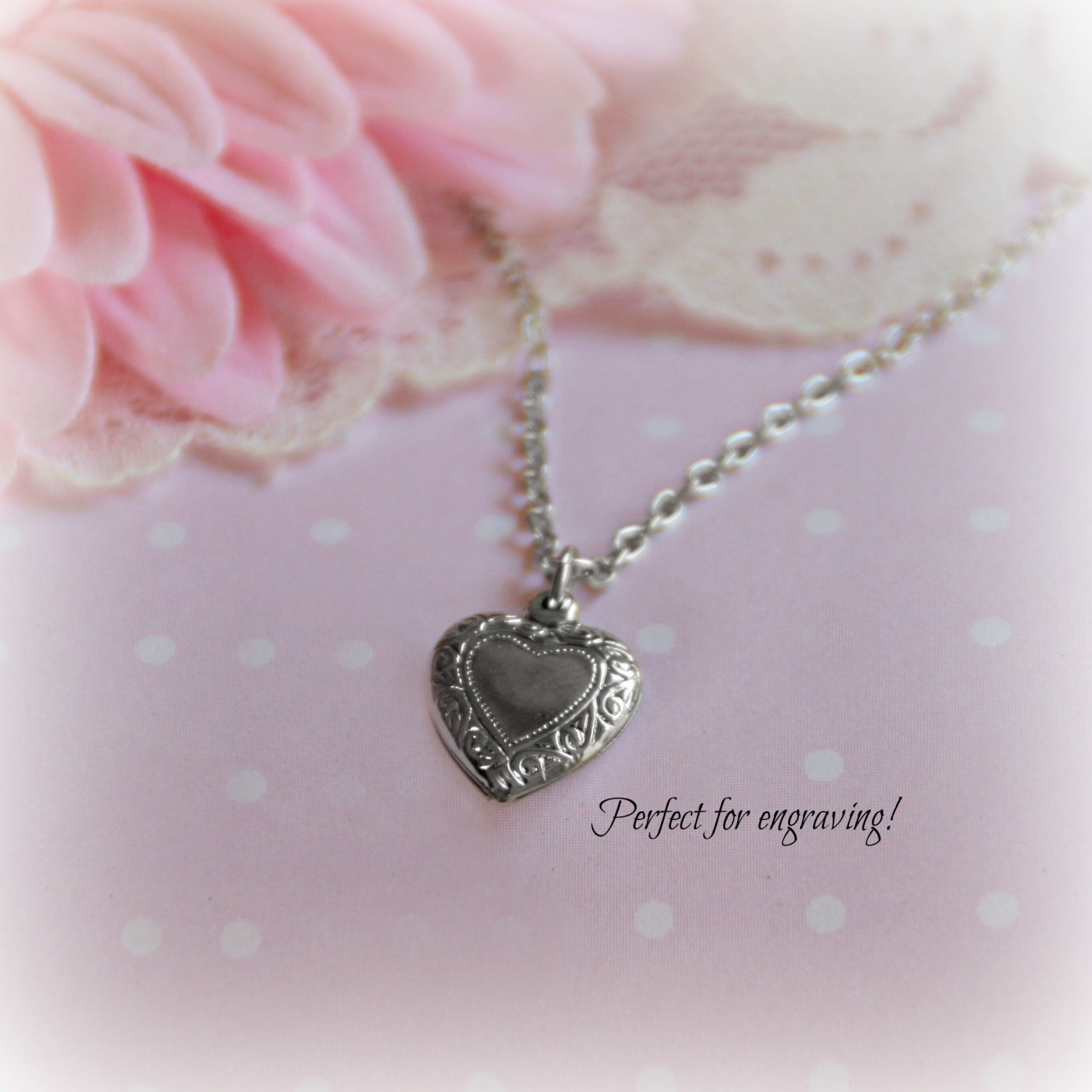RH-37  Puffed Heart Rhodium Engravable Necklace