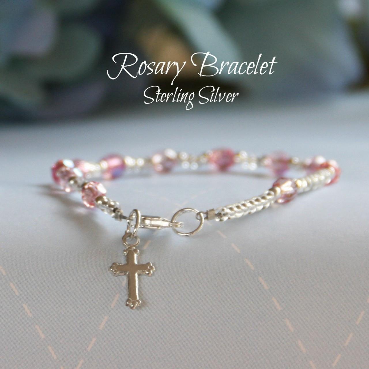 "STG-88PK  Pink Crystal Sterling Silver Child 5"" Bracelet"