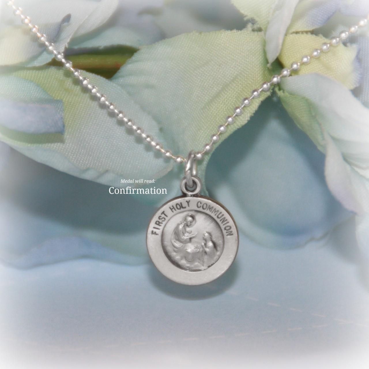 STG-223  Confirmation Sterling Silver Medal Necklace