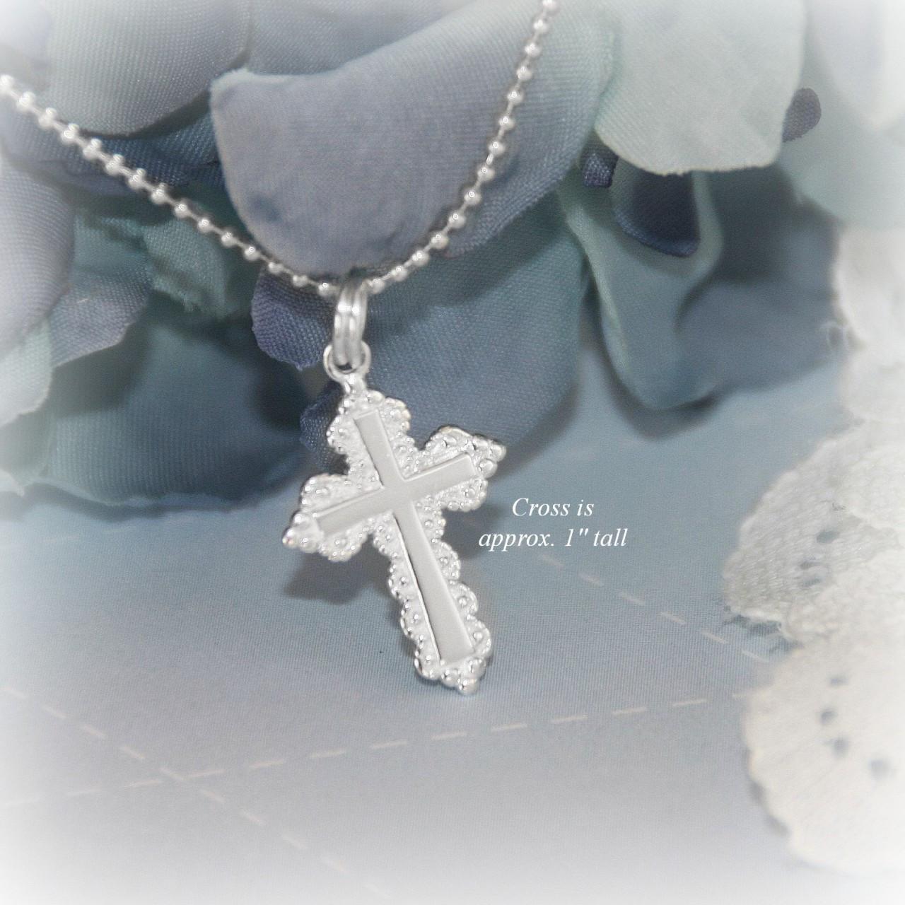 """STG-225  Elegant Larger Cross Sterling Silver Necklace 18"""""""