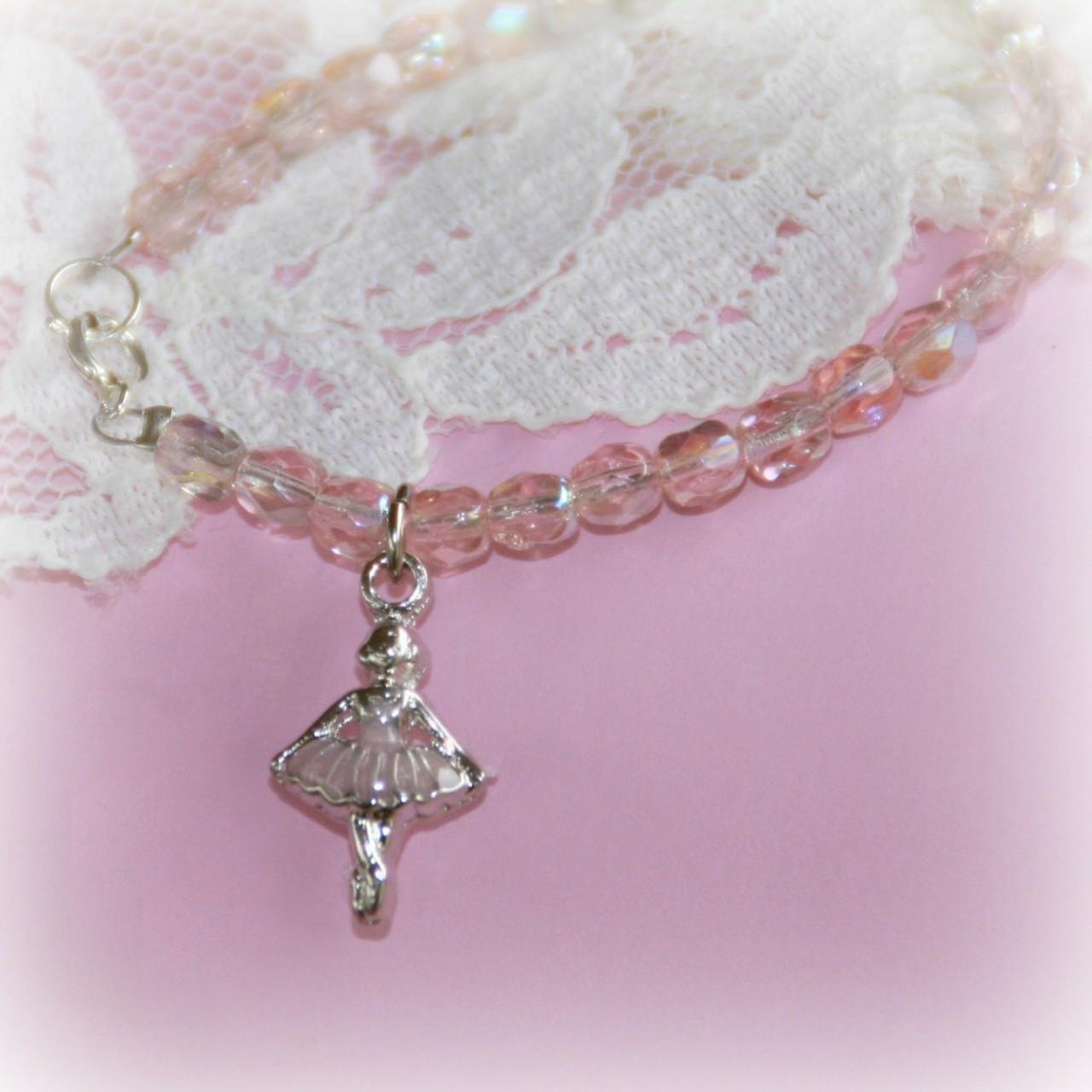 "CJ-364  Ballerina Bracelet with Pink crystals 5"""