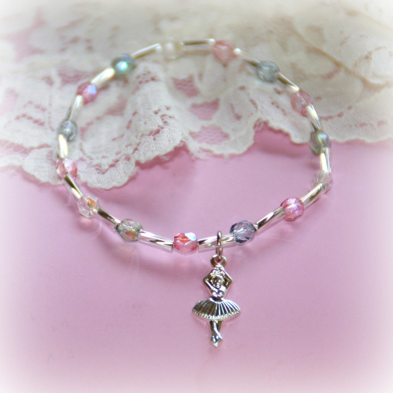 "CJ-385  Ballerina Bracelet with Pastel Crystals 6"""