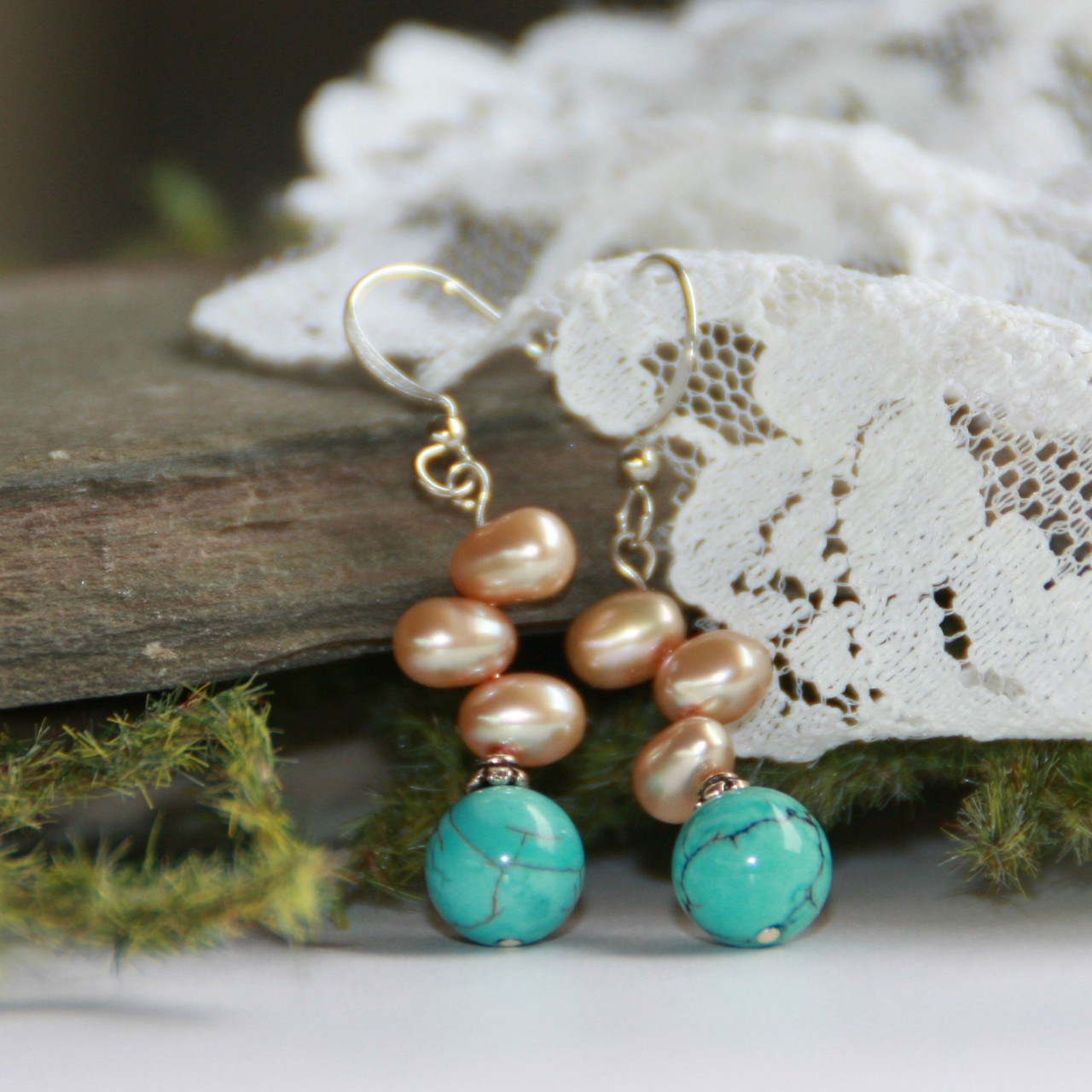 IS-96 Freshwater Pearls and Turquoise Earrings