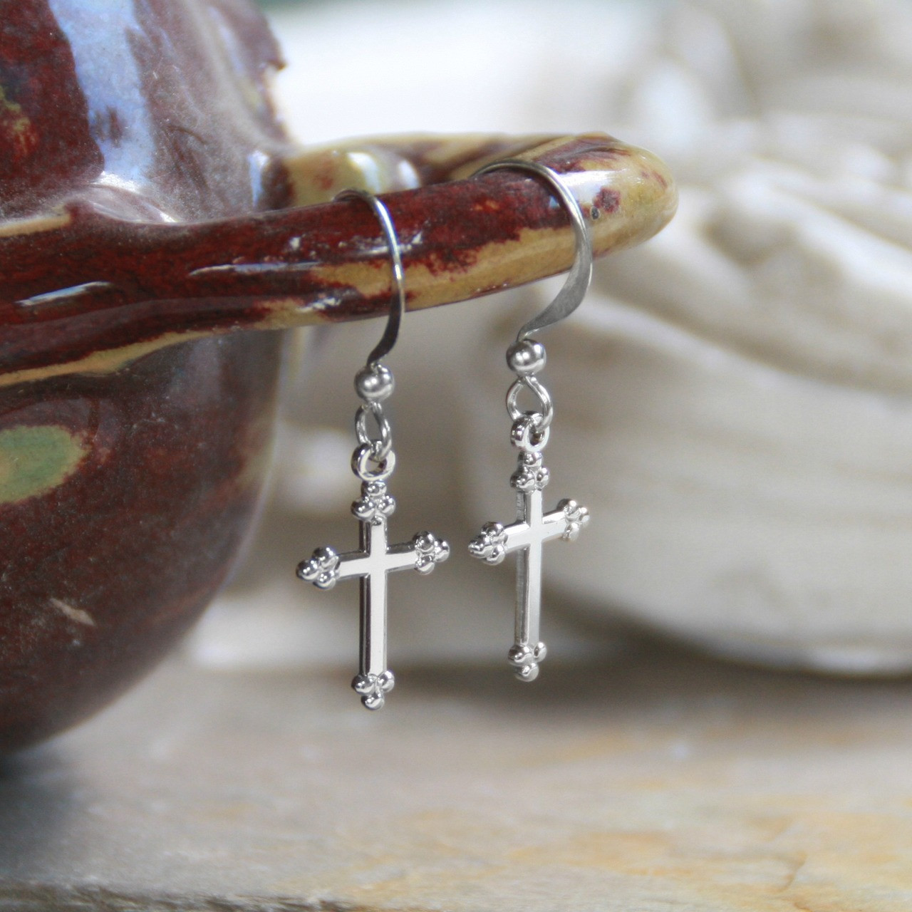 IN-3  Classic Cross Earrings