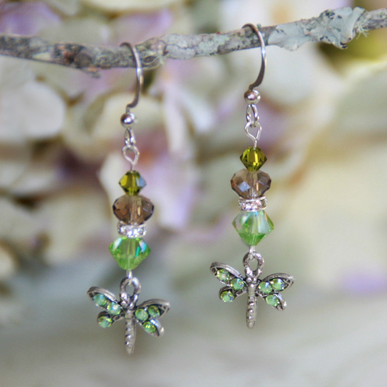 AER-24 Dragonfly Peridot Swarovski Earrings