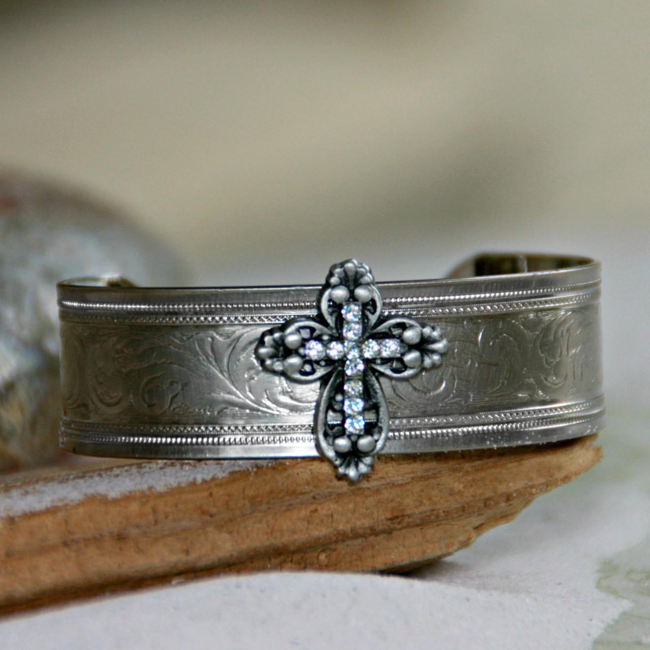 ART-132 Cross with Swarovski Crystals Cuff Bracelet
