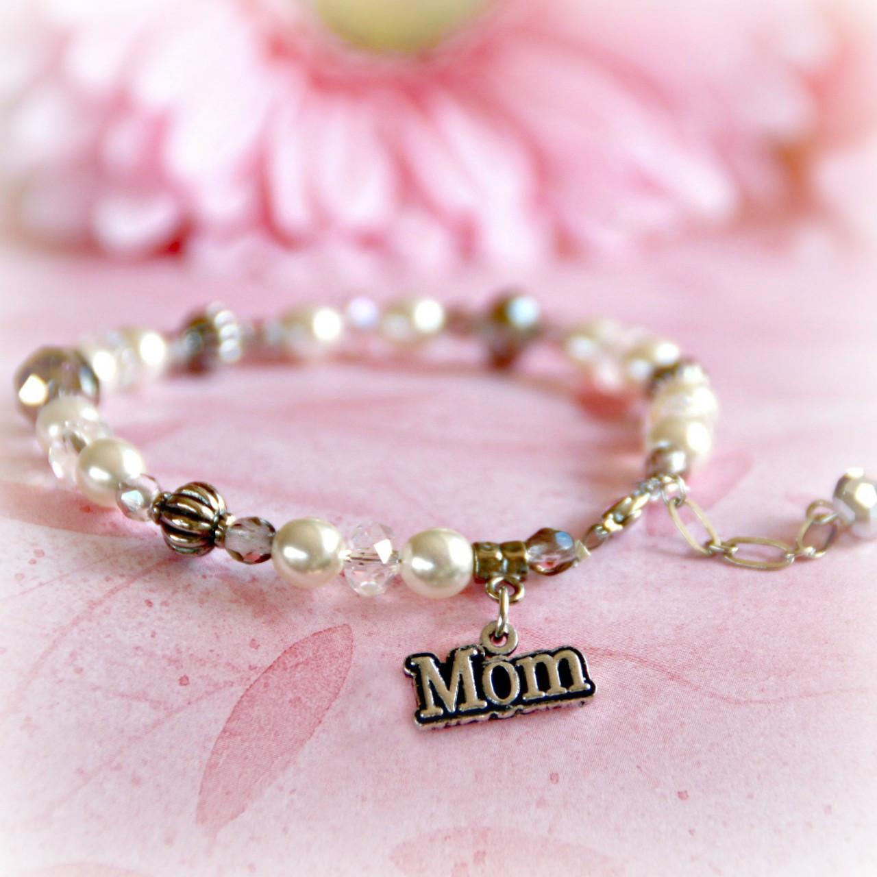 IN-349 Mother MOM charm Pearl Bracelet