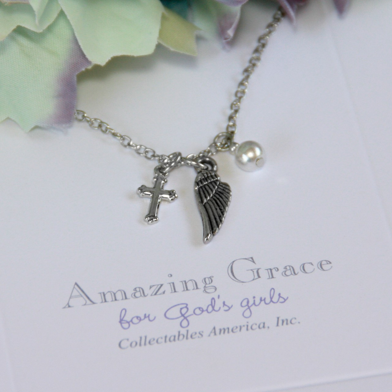 GG-31 Amazing Grace Wings, Cross & Pearl Necklace