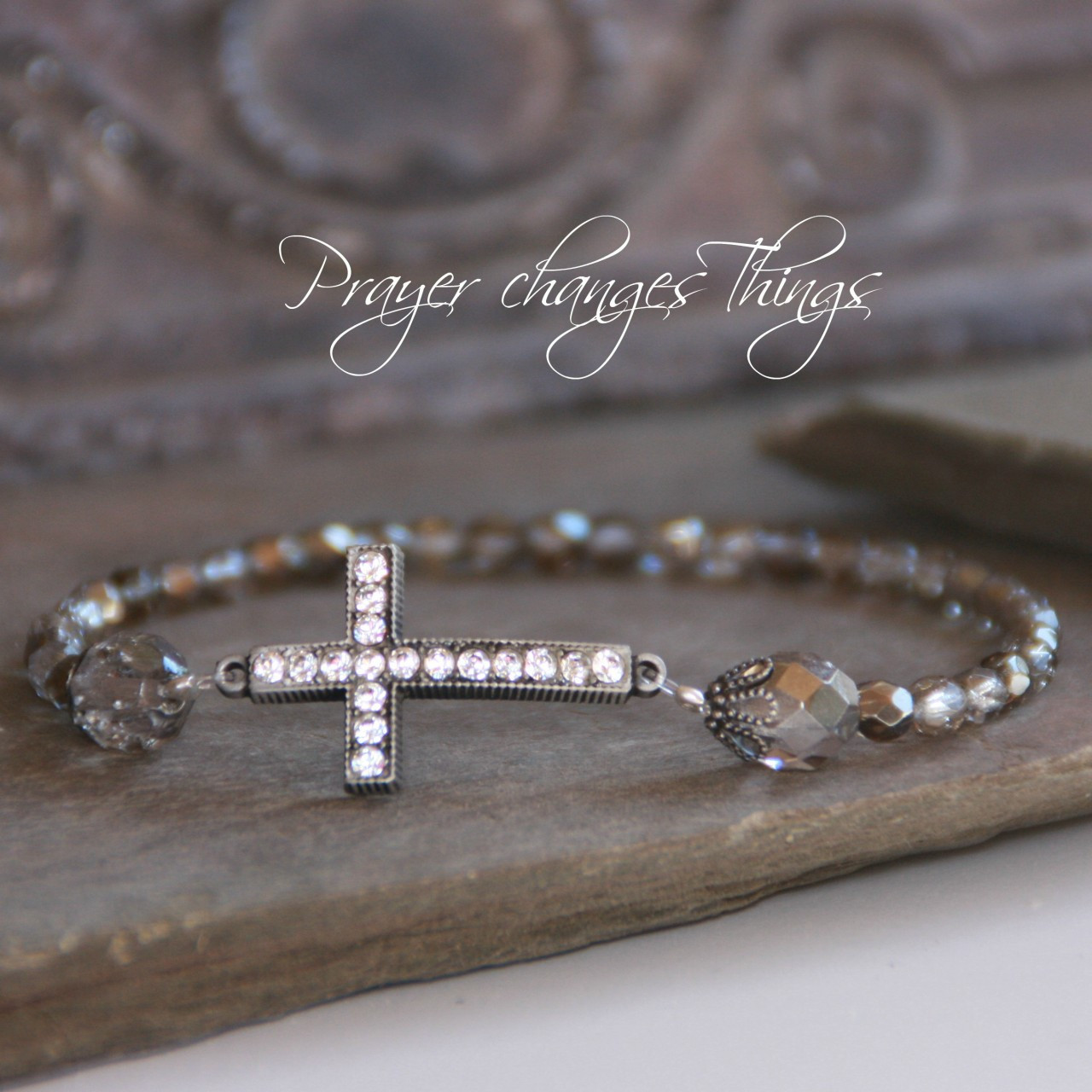 IN-100 Platinum Jeweled Crystal Bracelet