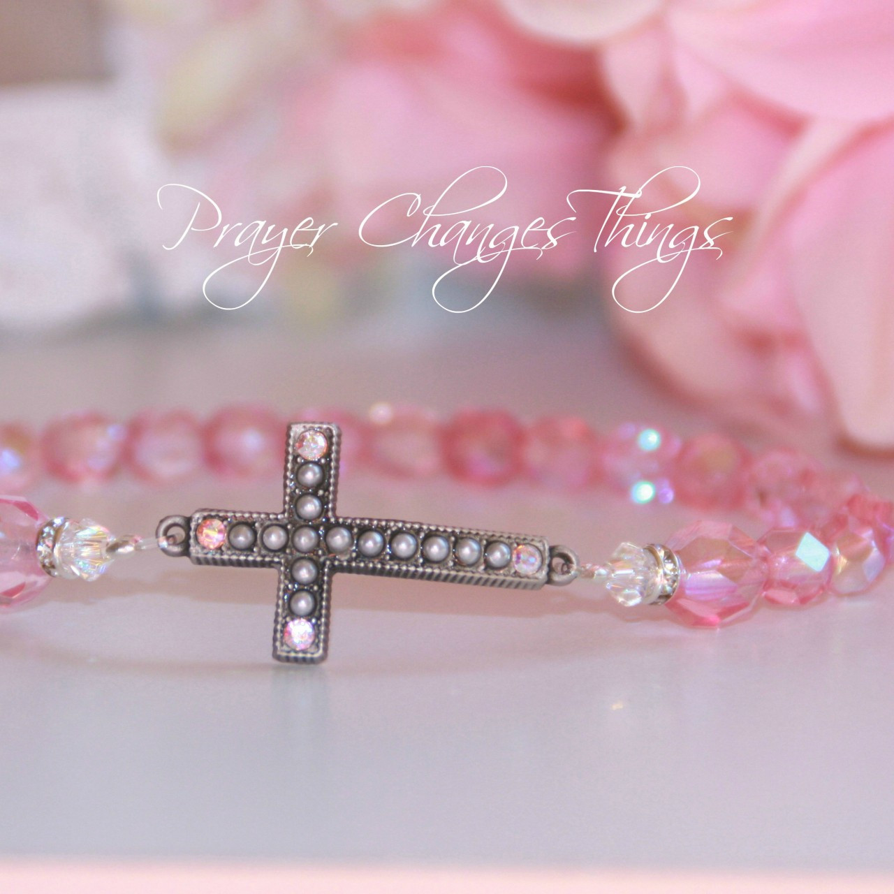 IN-103 Rose Crystal Jeweled Cross Bracelet