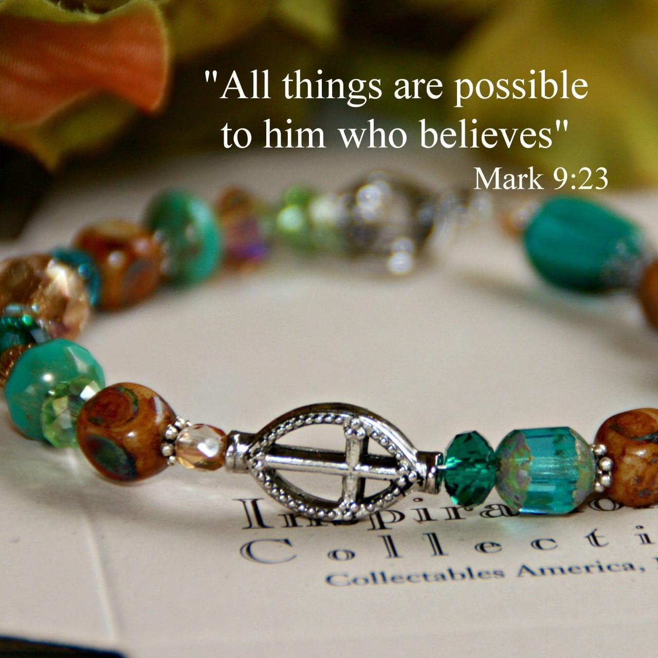 IN-109 Beautiful Colors Cross Bracelet