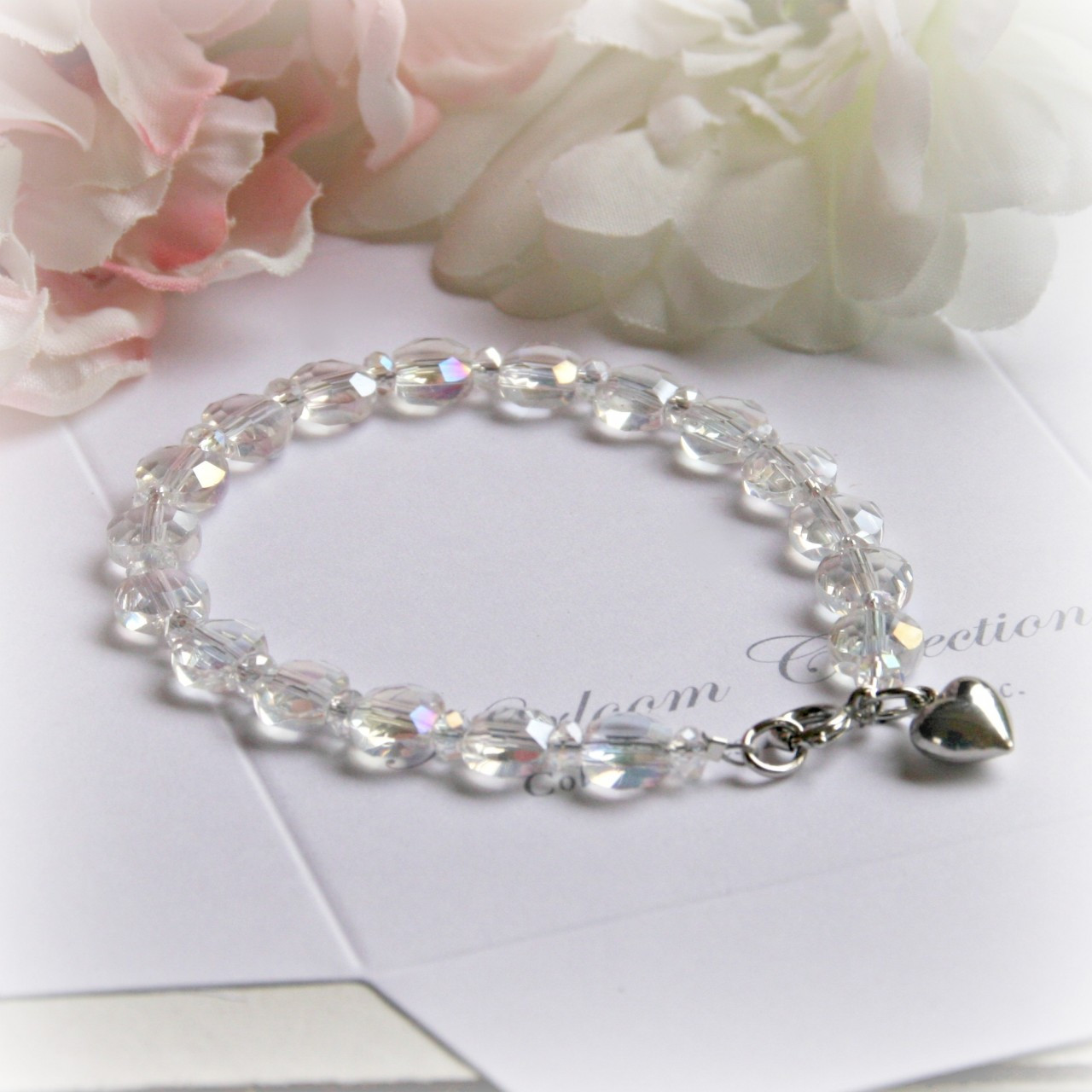 "CJ-340-5 5"" Crystal AB Child Bracelet with Heart Charm"