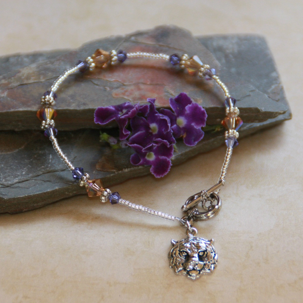 TG-2s Tiger Silver finish with Crystals Bracelet