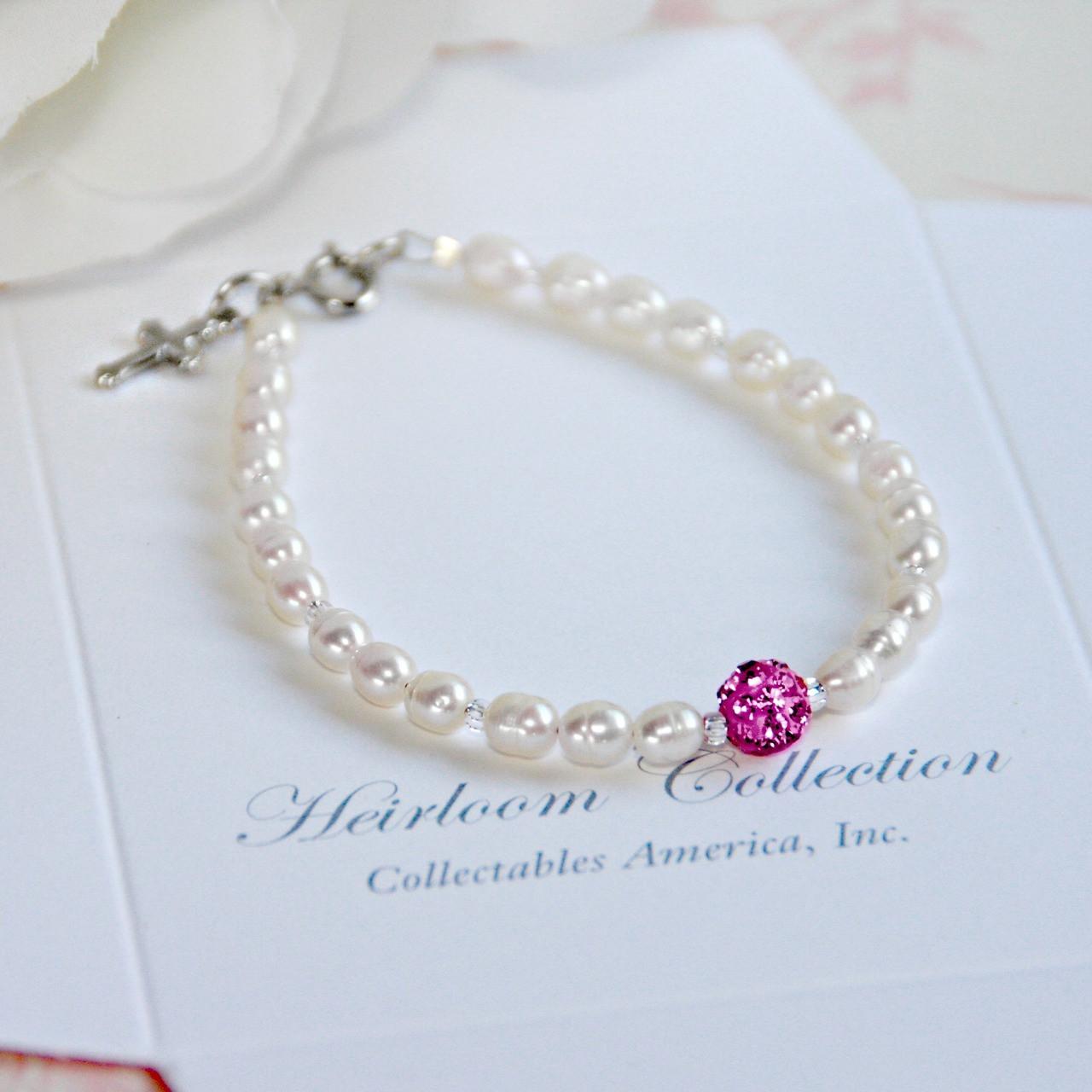 "CJ-440-5 Freshwater Pearls and Crystal Pink Bead Bracelet 5"""
