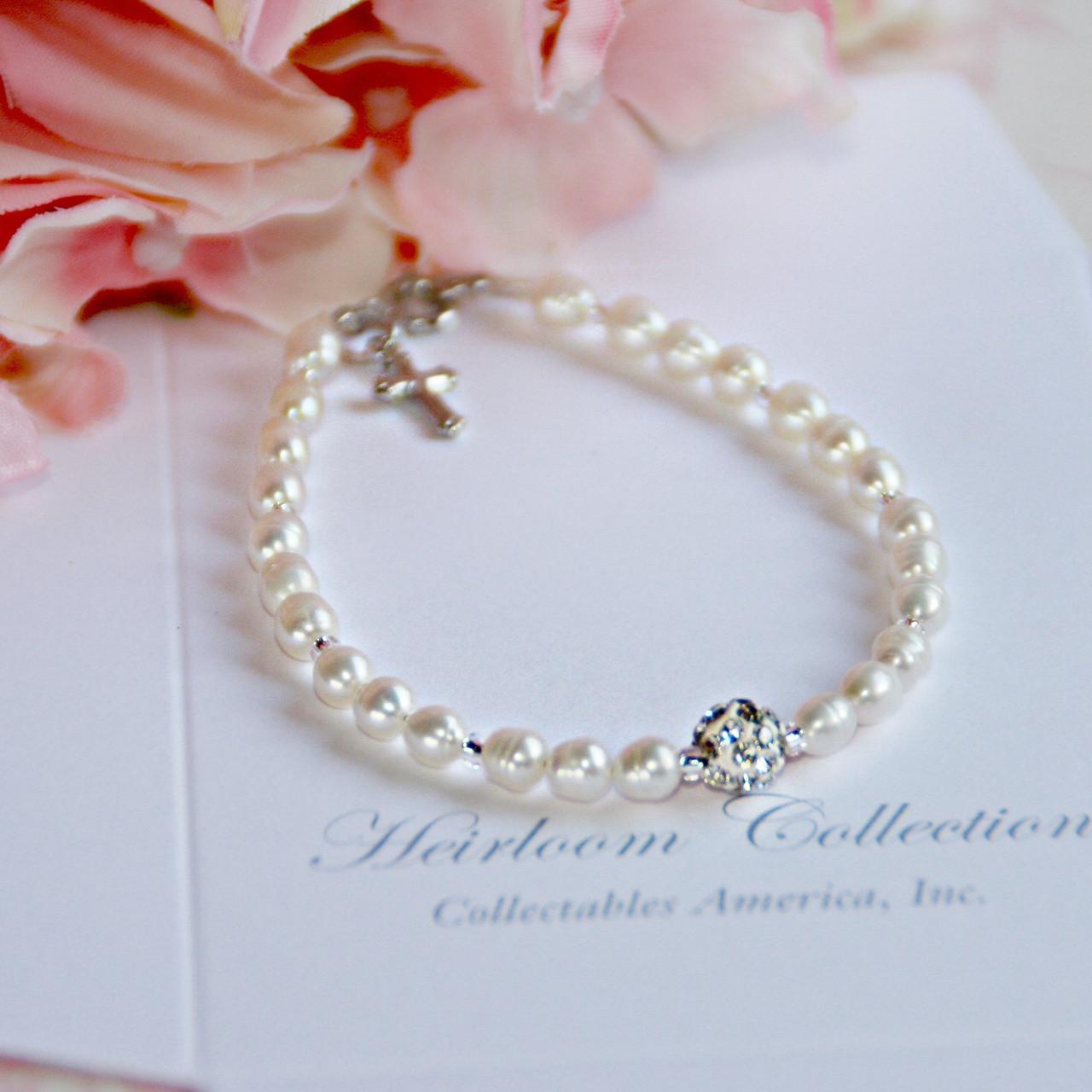 "CJ-441-5 Freshwater Pearls and Crystal Bead Bracelet 5"""