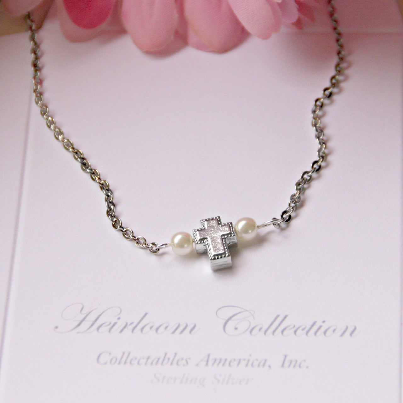 GG-38 Sweet Cross with Fine Glass Pearls Necklace