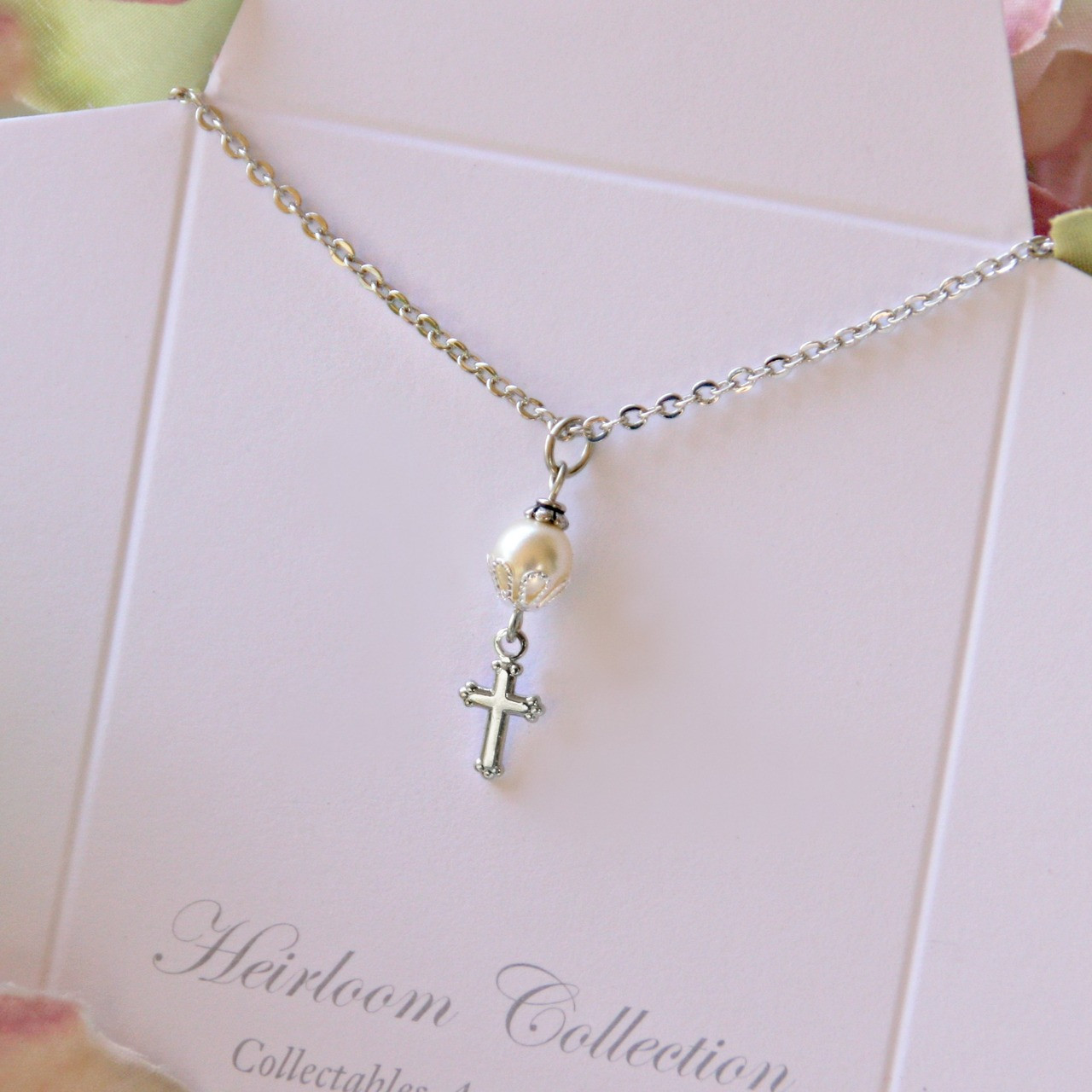 GG-39 Cross drop from Glass Pearl Necklace