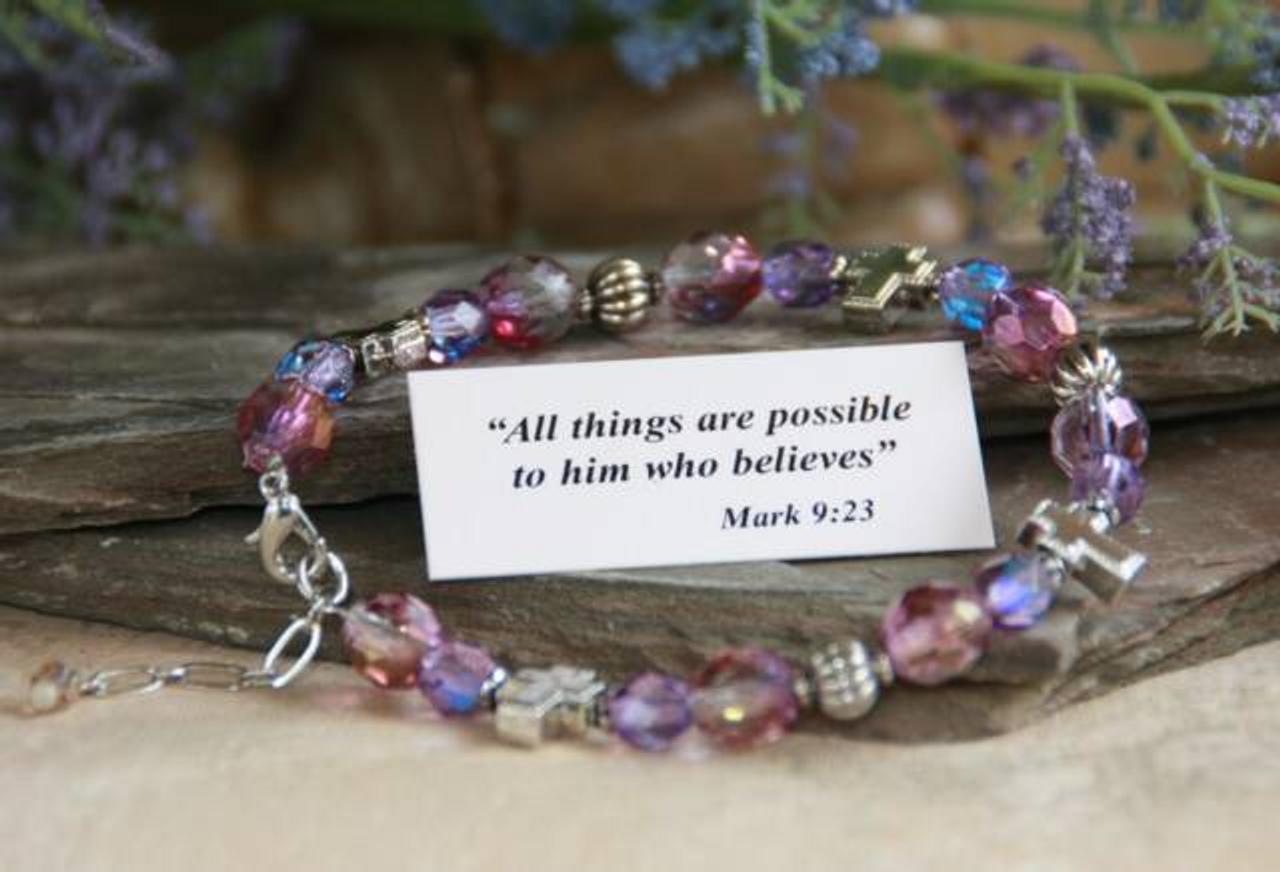 IN-218 Christian bracelet purple/lavender