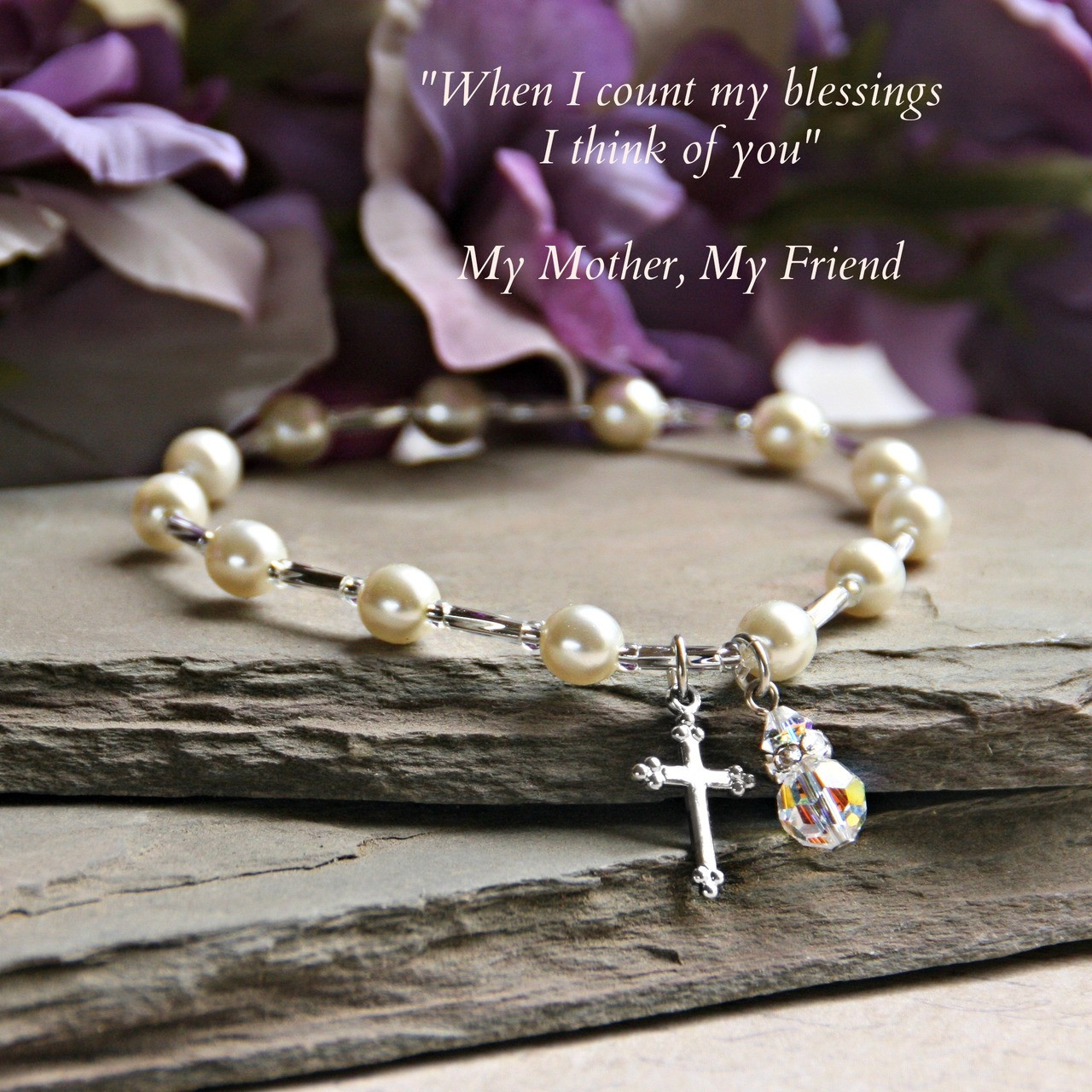 """IN-134  Mother Bracelet with Cross and Crystal drop """"stretchy"""" style!"""