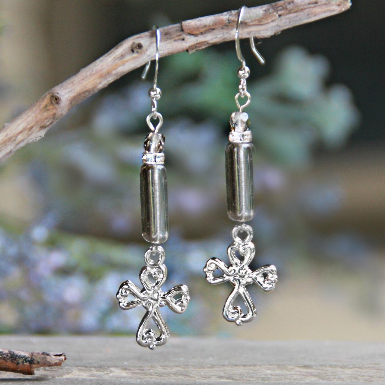 IN-46  Beautiful Platinum Crystals Drop Cross Earrings