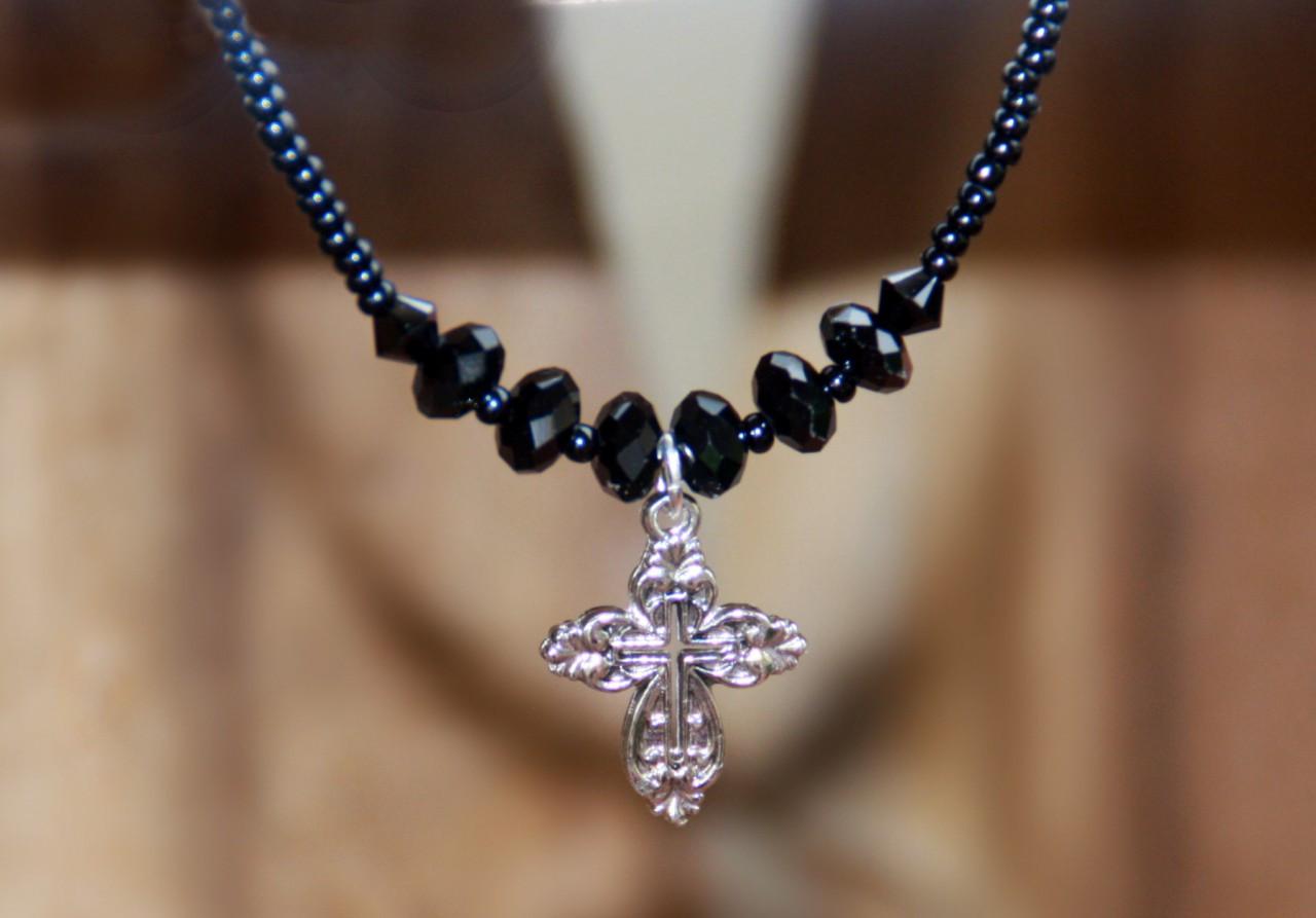 IN-618 Silvertone Cross Black beaded necklace