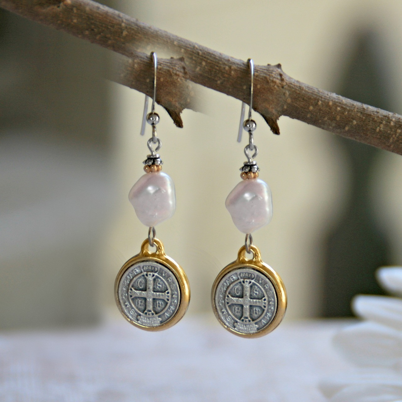 IN-36  St. Benedict Freshwater Pearl Earrings