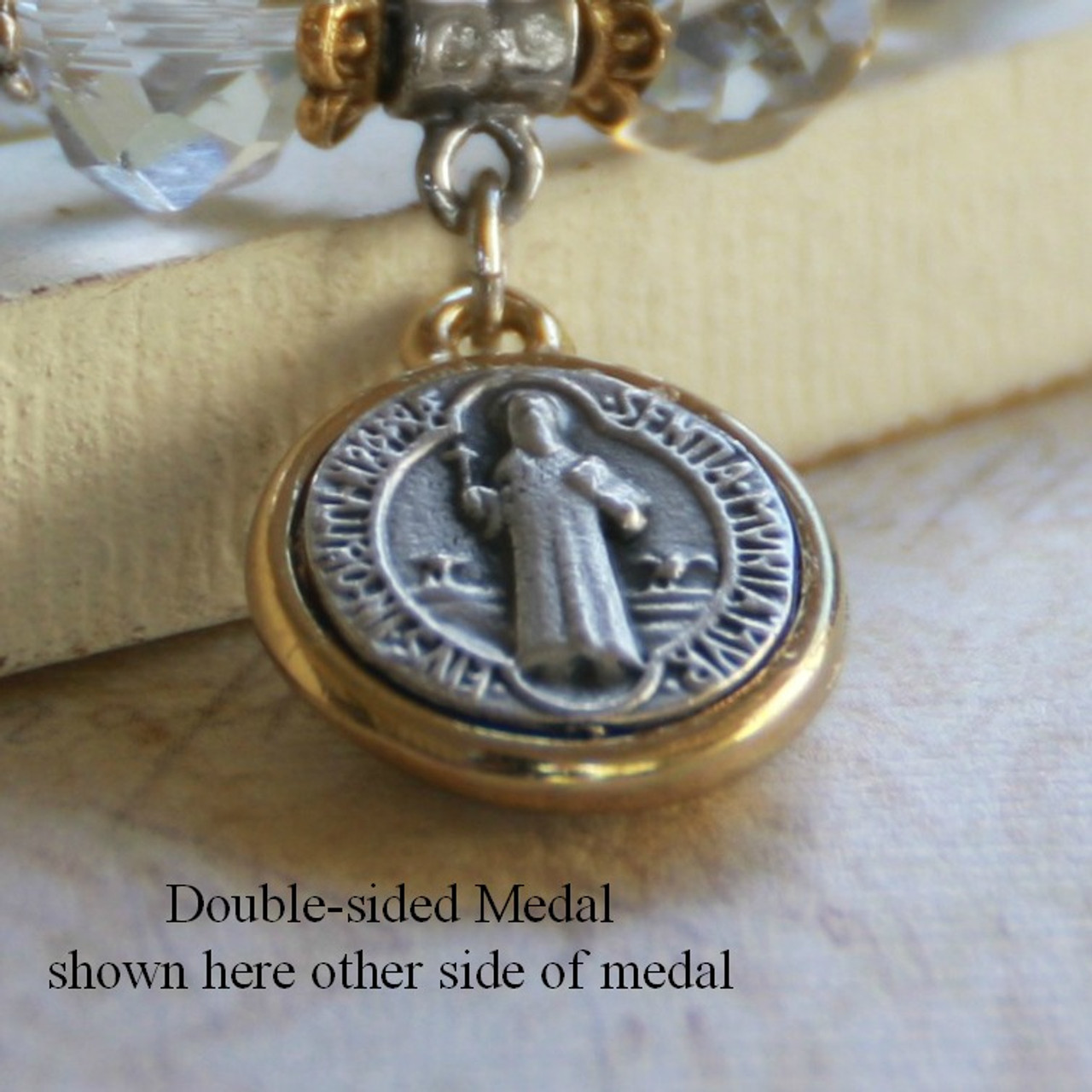 IN-511  St. Benedict Necklace with Swarovski Crystal
