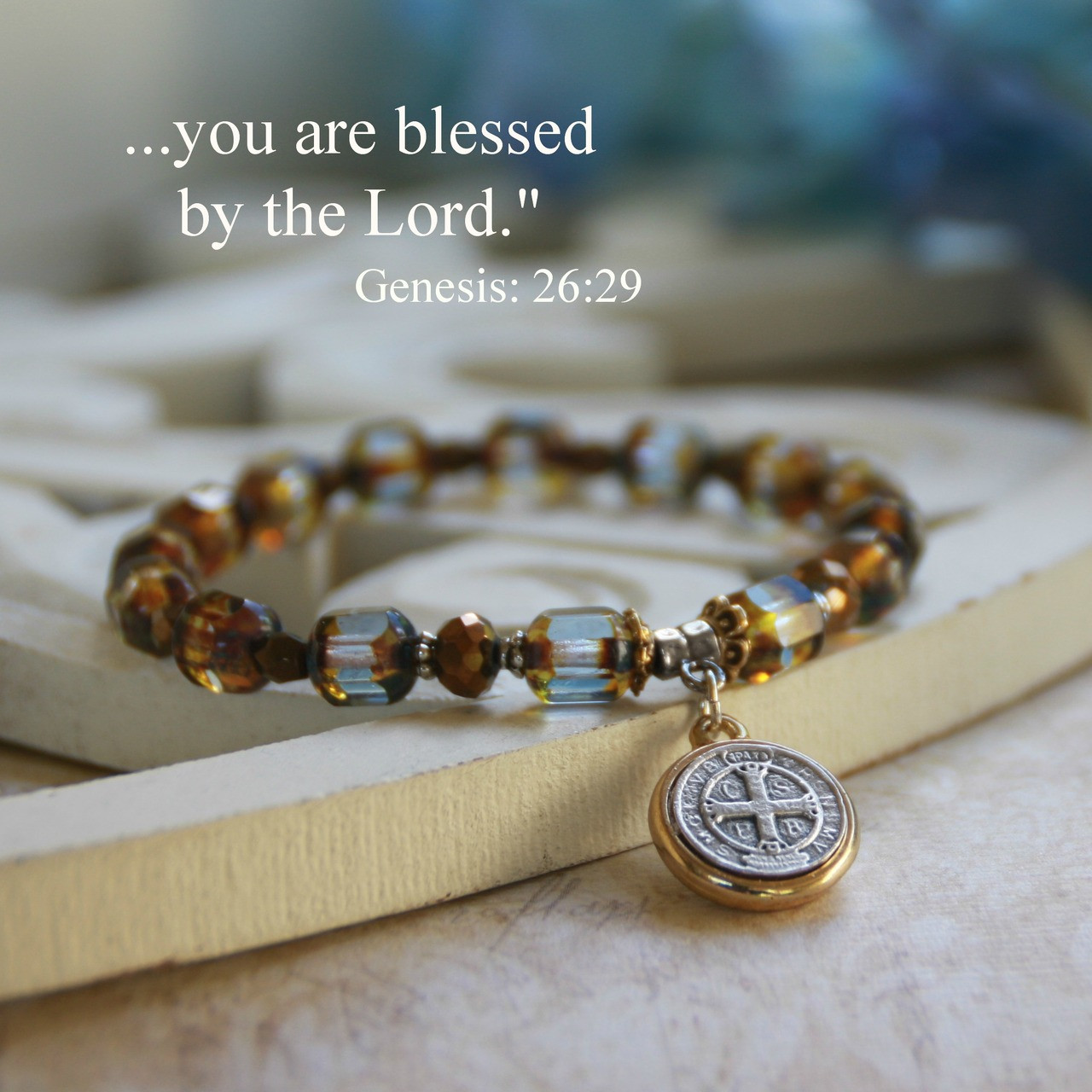 IN-141  St. Benedict Classic Blue Bracelet,  A Favorite!