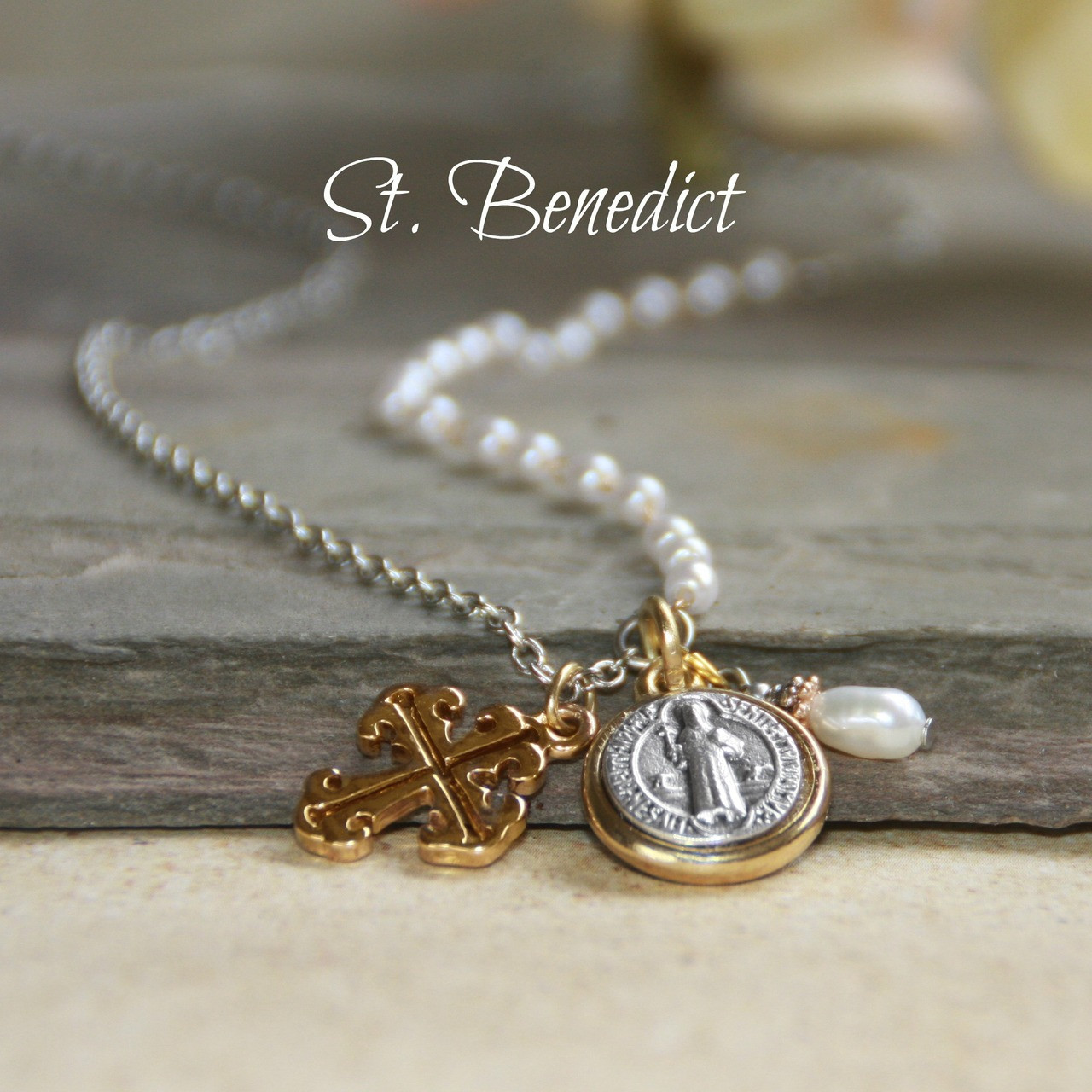"""IS-183  Oh so stylish St. Benedict & Pearls 20-24"""" """"Necklace"""