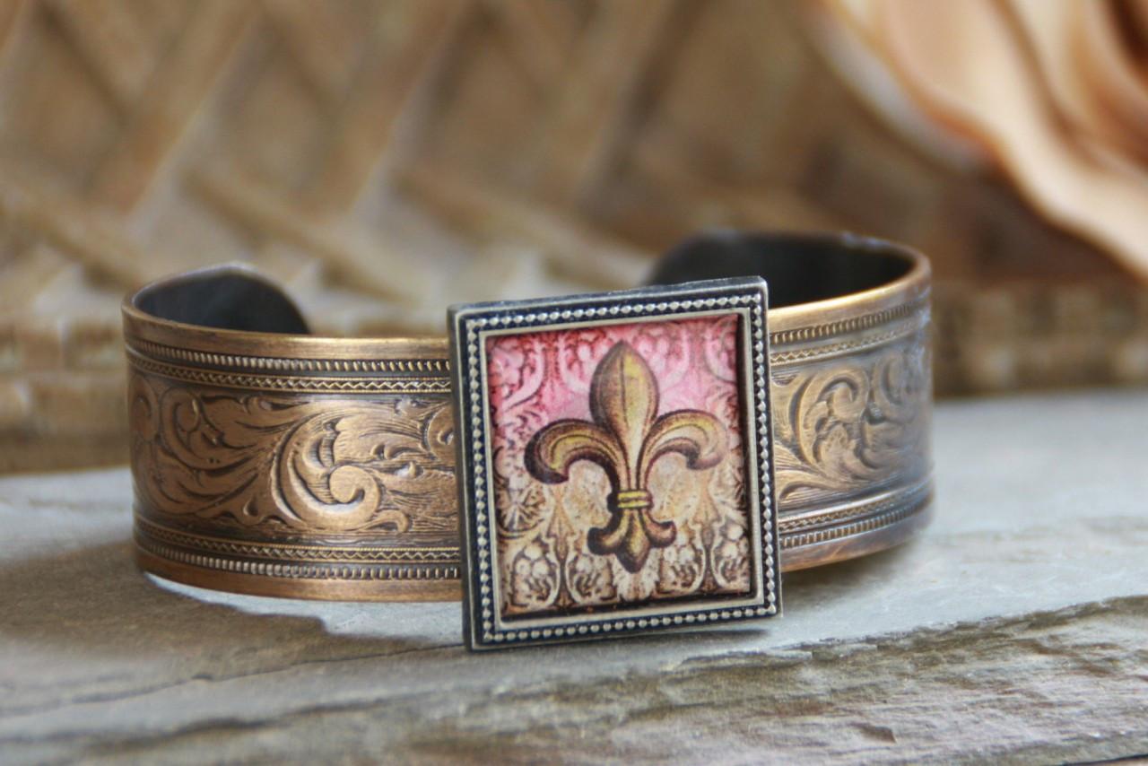 ART-105 Fleur de Lis cuff bracelet-3