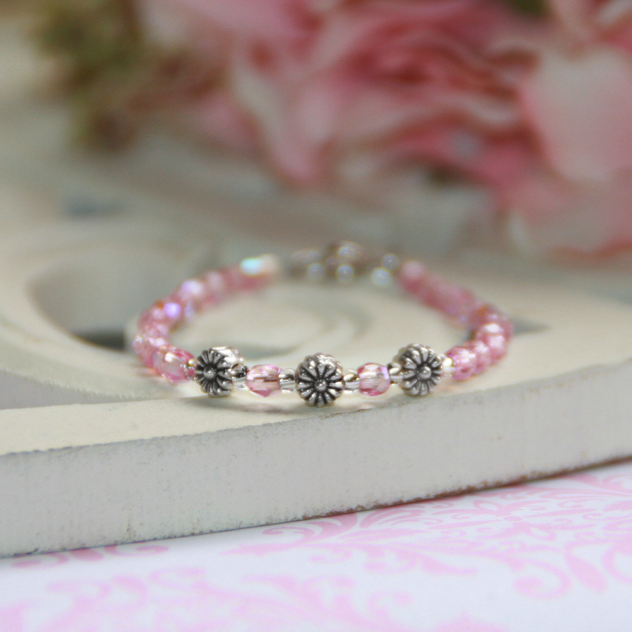 CJ-110  Infant Tiny Flowers Pink Crystals Bracelet