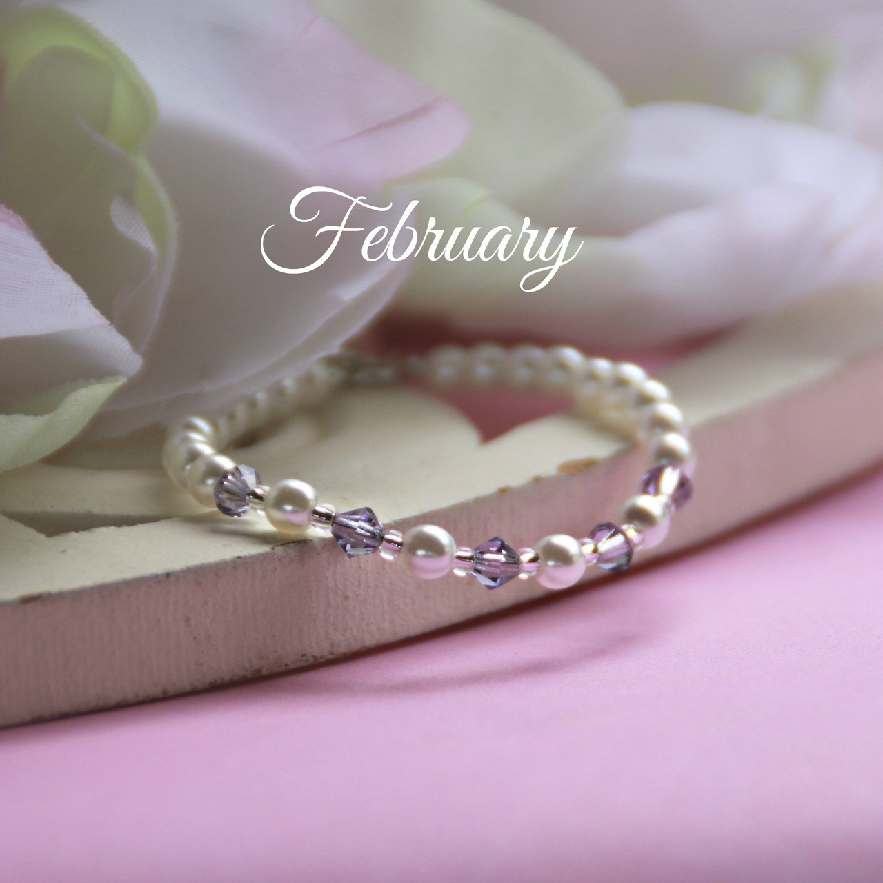 "CJ-130  February Birthstone Bracelet 5"""