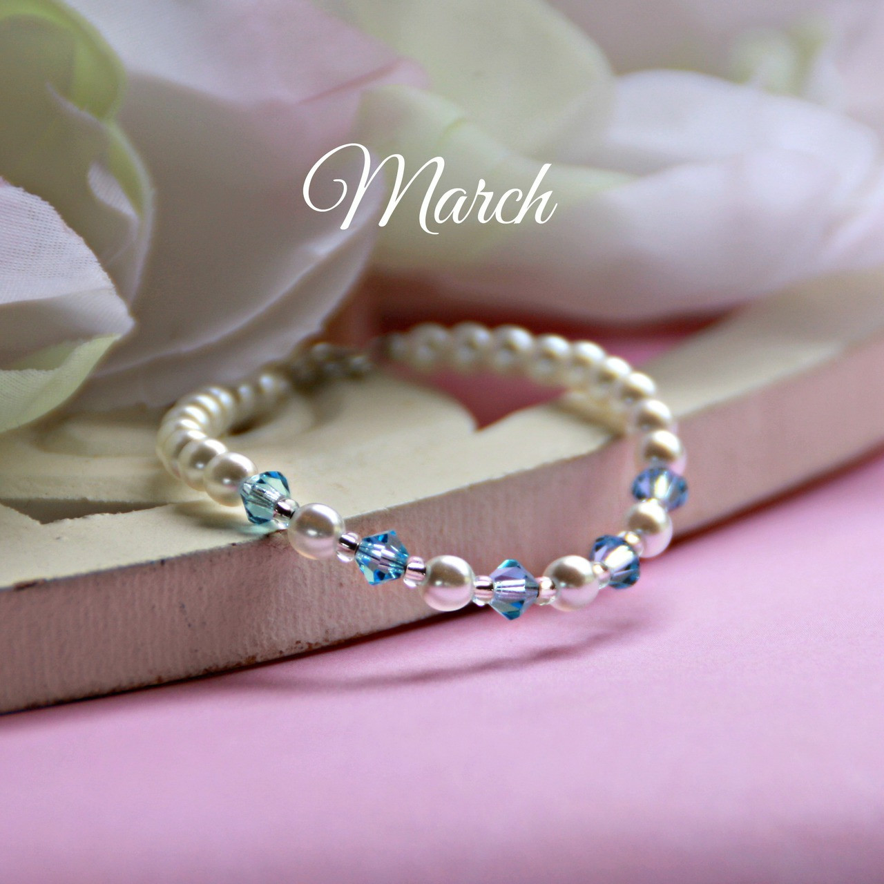 "CJ-131  March Birthstone Bracelet 5"""