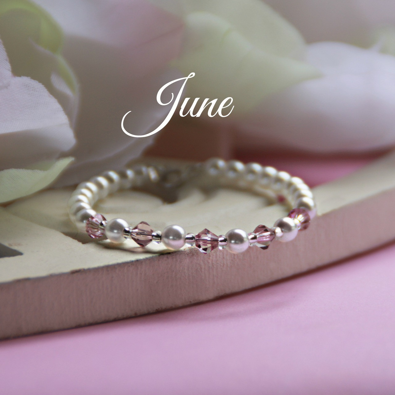 """CJ-134  June Birthstone Bracelet 5"""""""