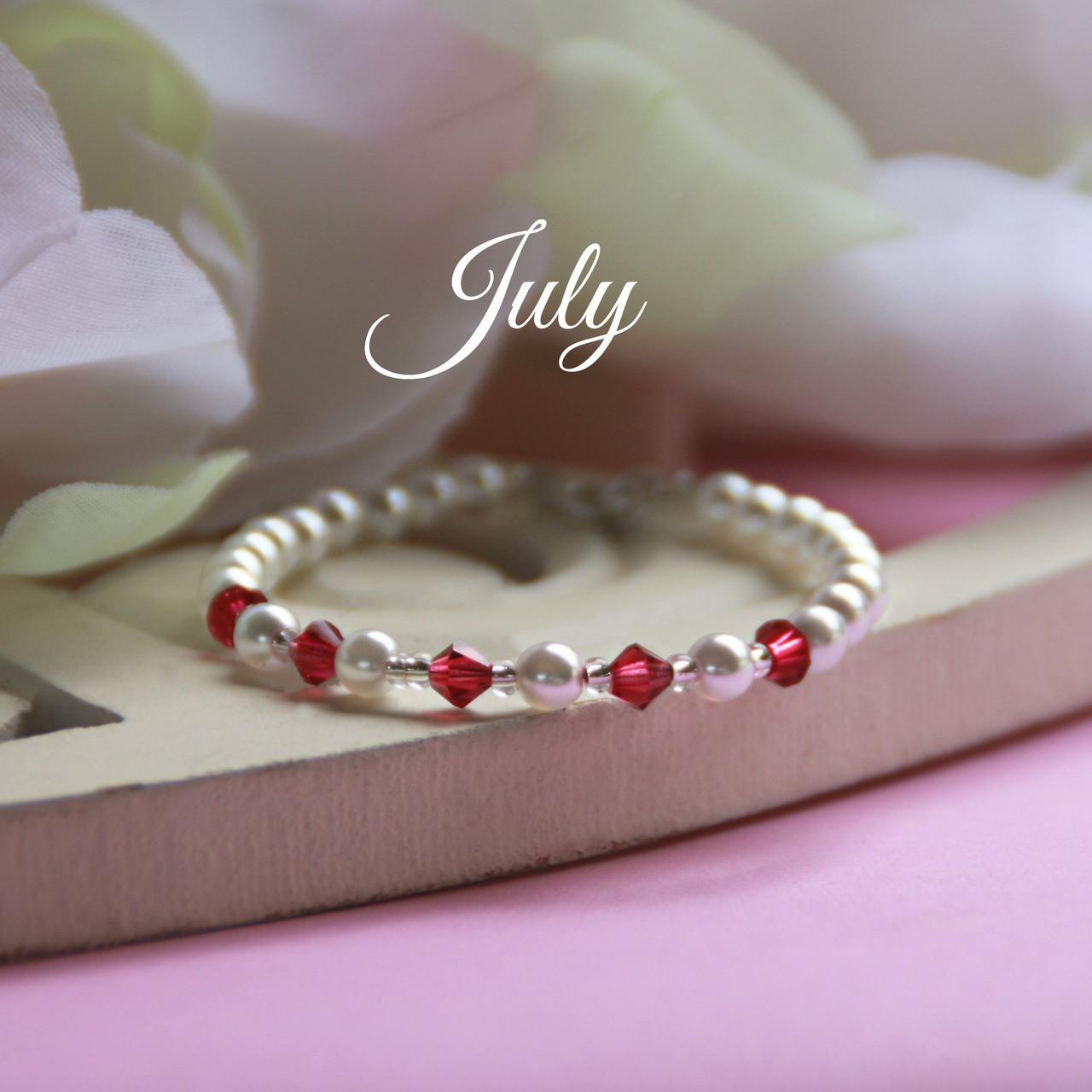 "CJ-135  July Birthstone Bracelet 5"""