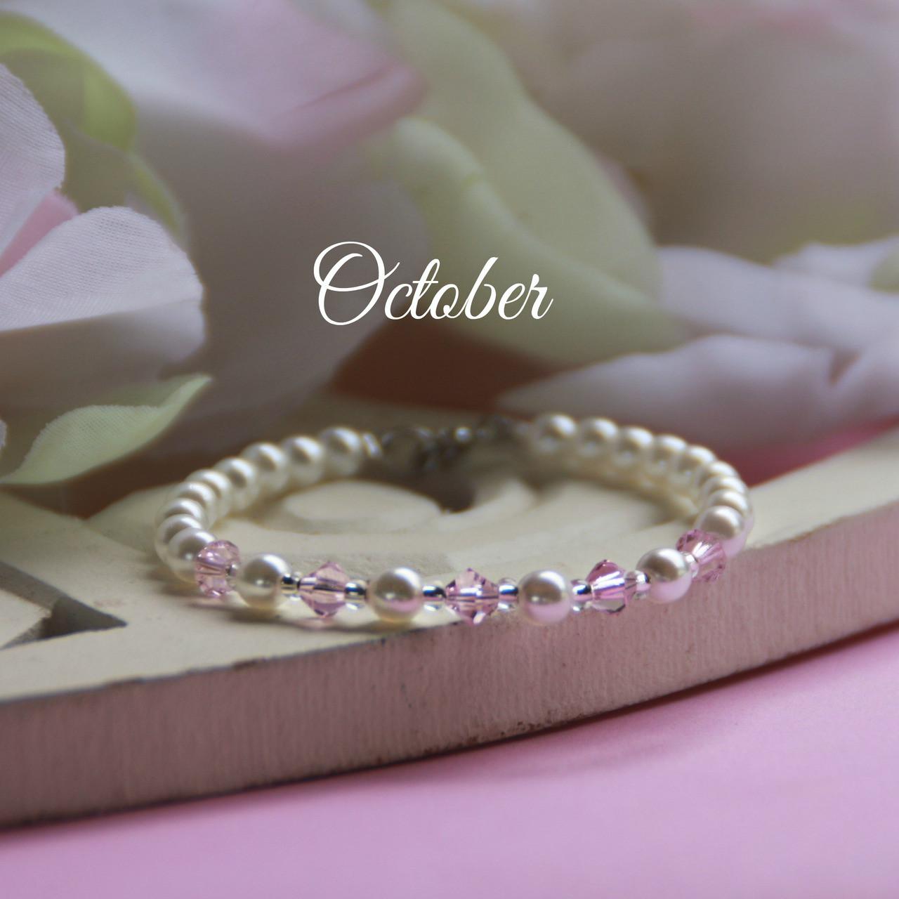 """CJ-138  October Birthstone Bracelet 5"""""""